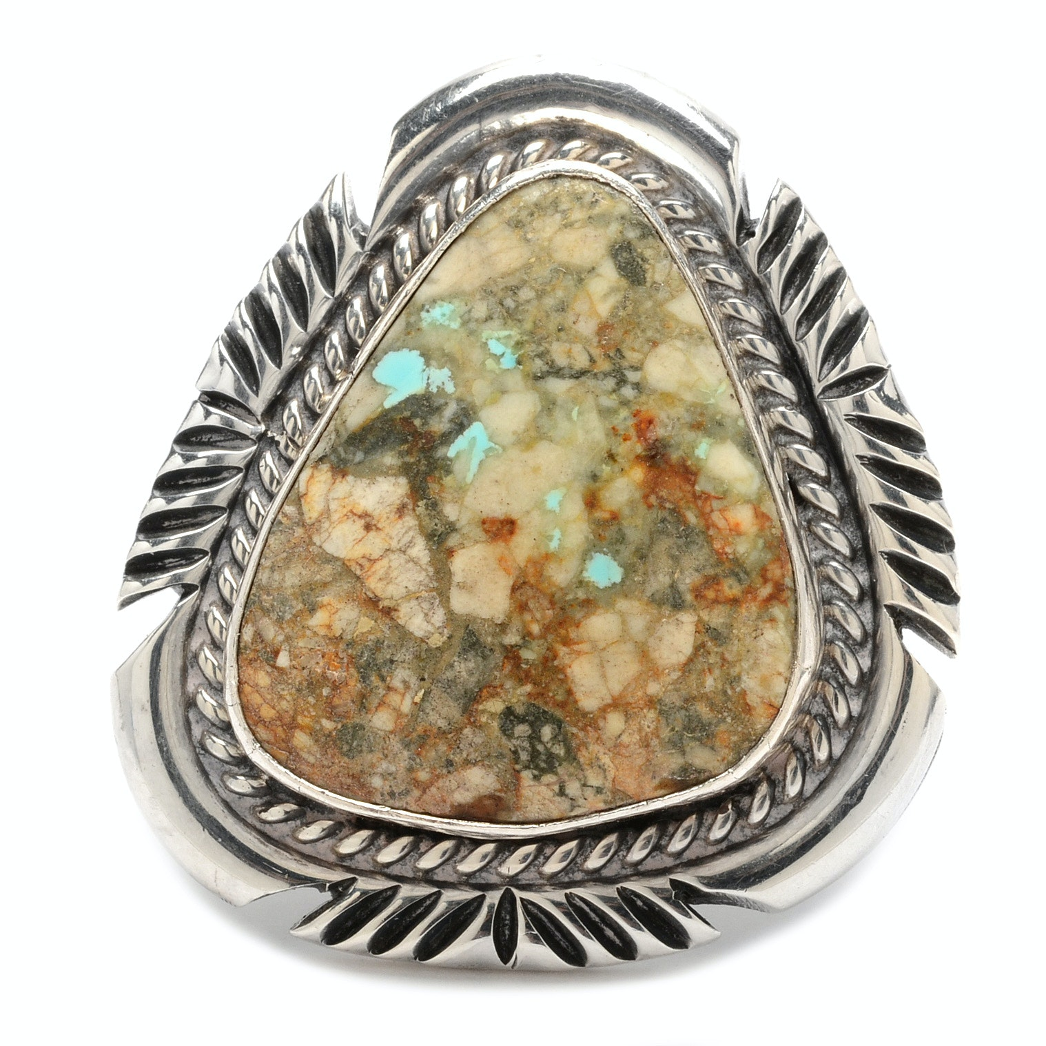 Sterling Silver and Turquoise in Matrix Ring by Navajo Diné Johnny Johnson