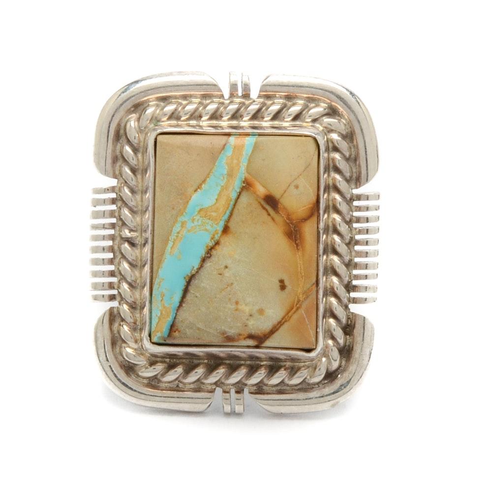 Sterling Silver Turquoise in Matrix Ring by Navajo Diné Benjamin Piaso Jr