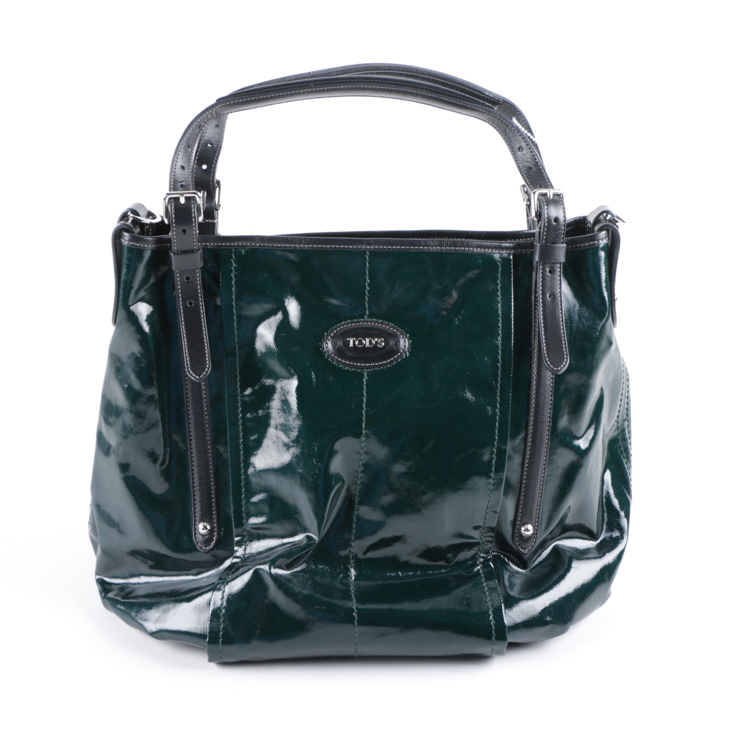 Tod's Green Coated Canvas and Black Leather Handbag