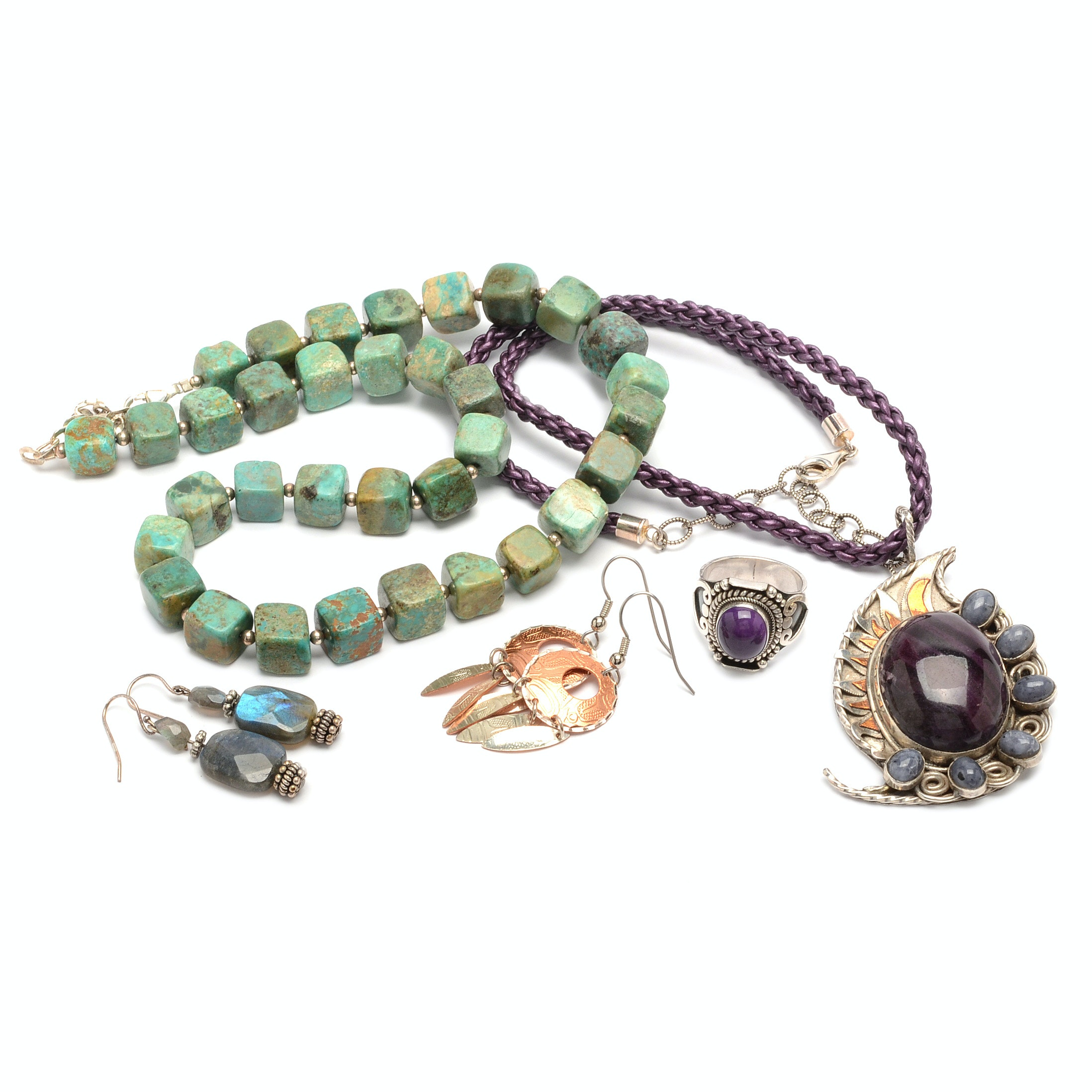 Sterling Silver and Gemstone Necklaces and Ring Including Barse