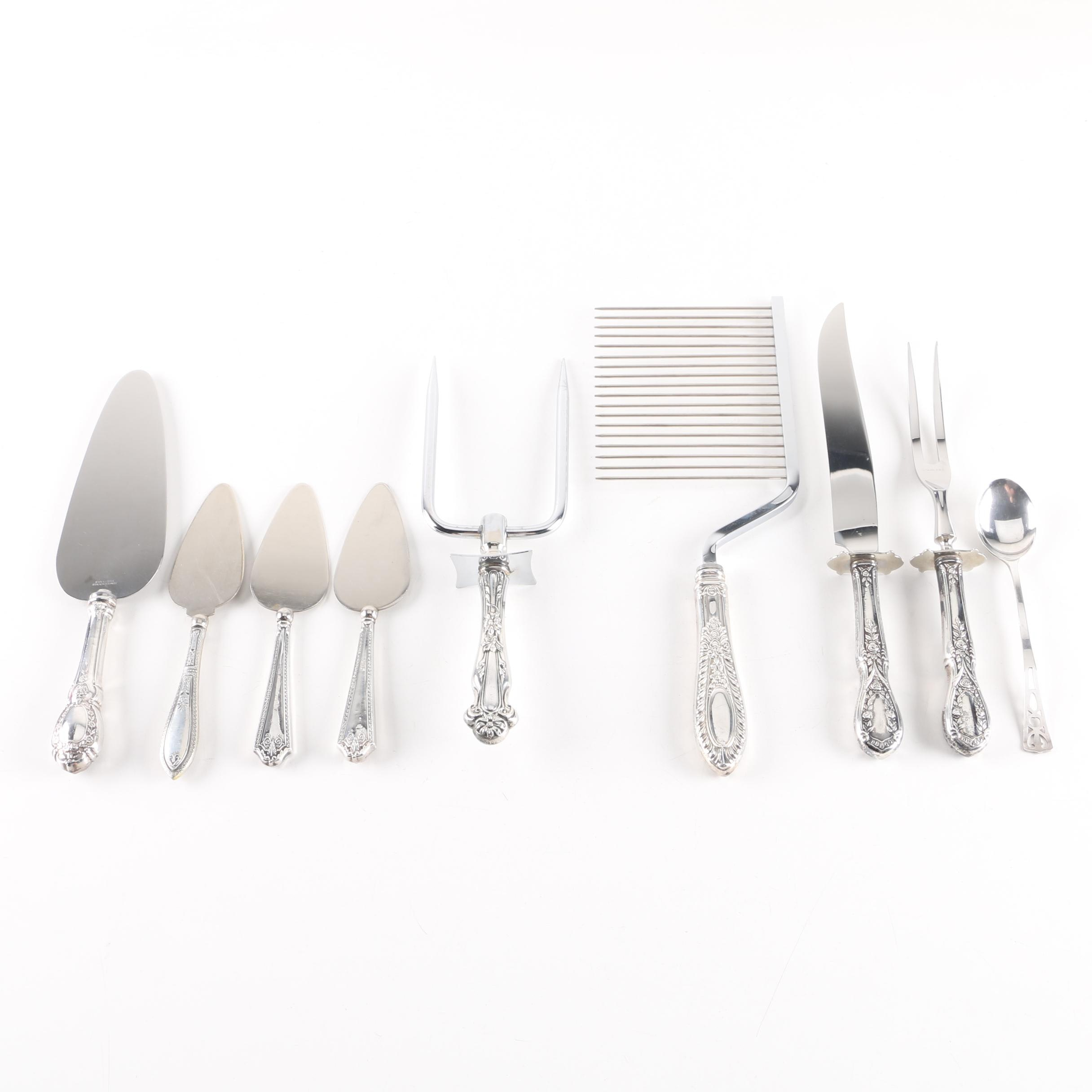 "Manchester ""American Beauty"" Carving Set and Other Sterling Serving Utensils"