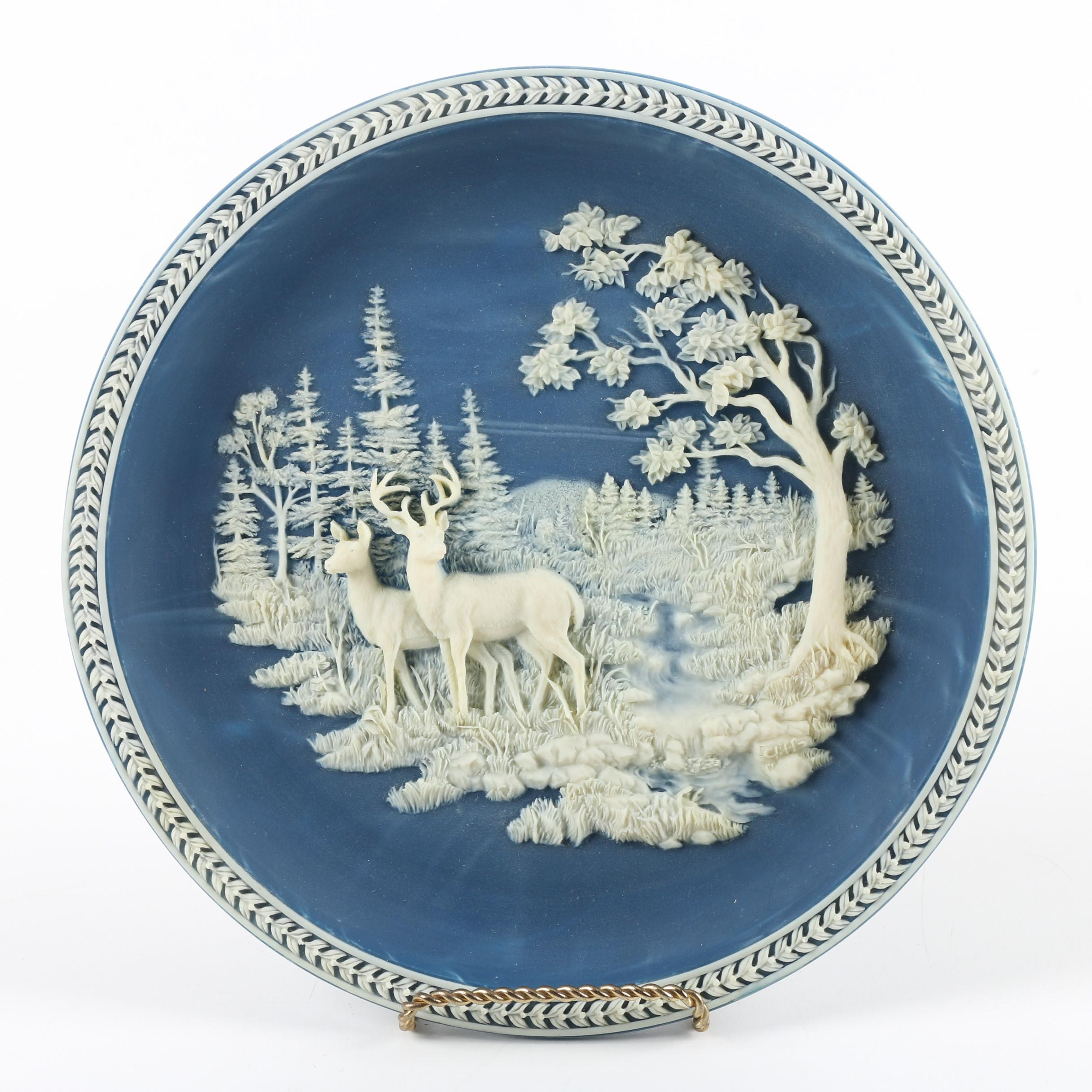 """Limited Edition Incolay """"At Stream's Edge"""" Decorative Collector Plate with Stand"""