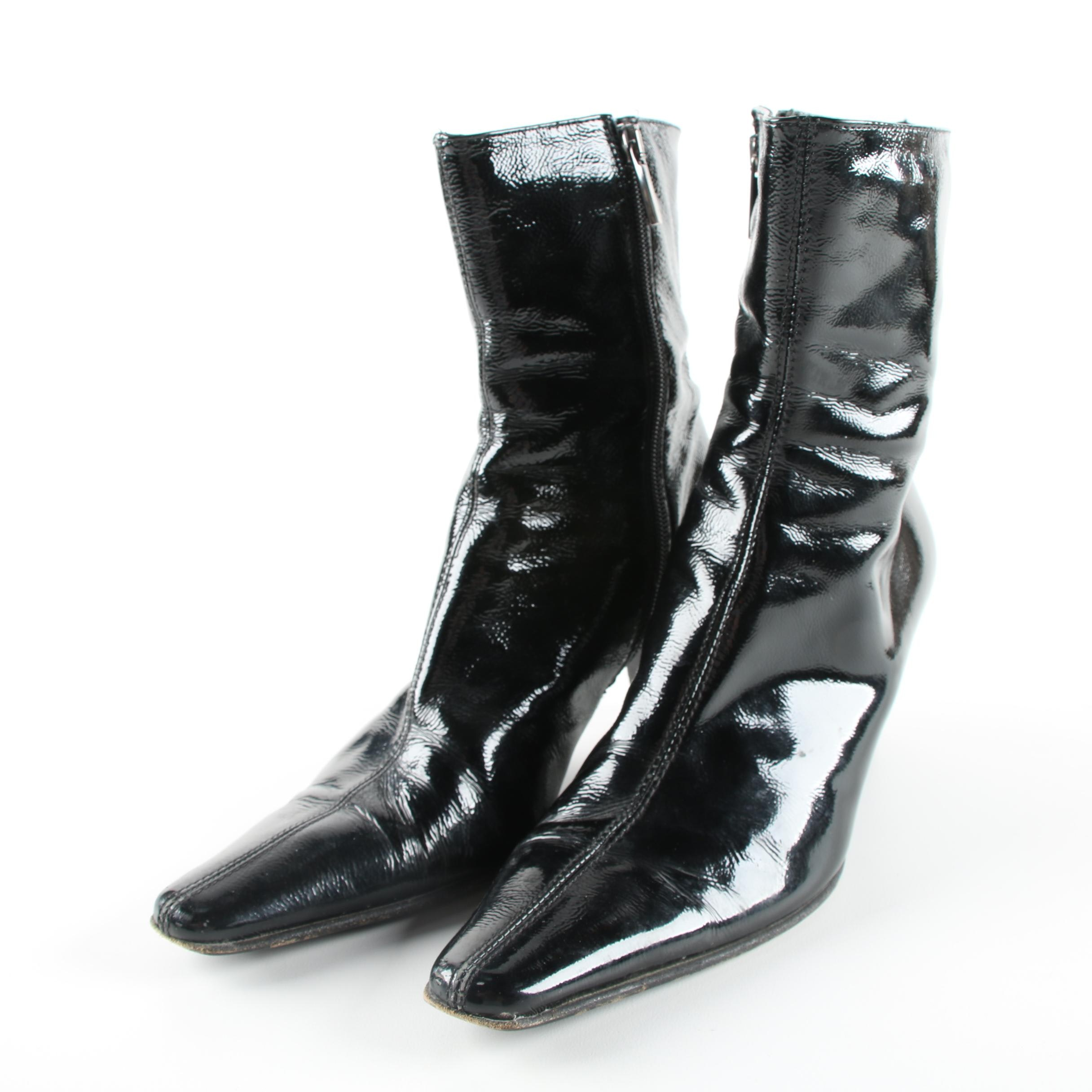 Women's Black Patent Leather High Heeled Booties