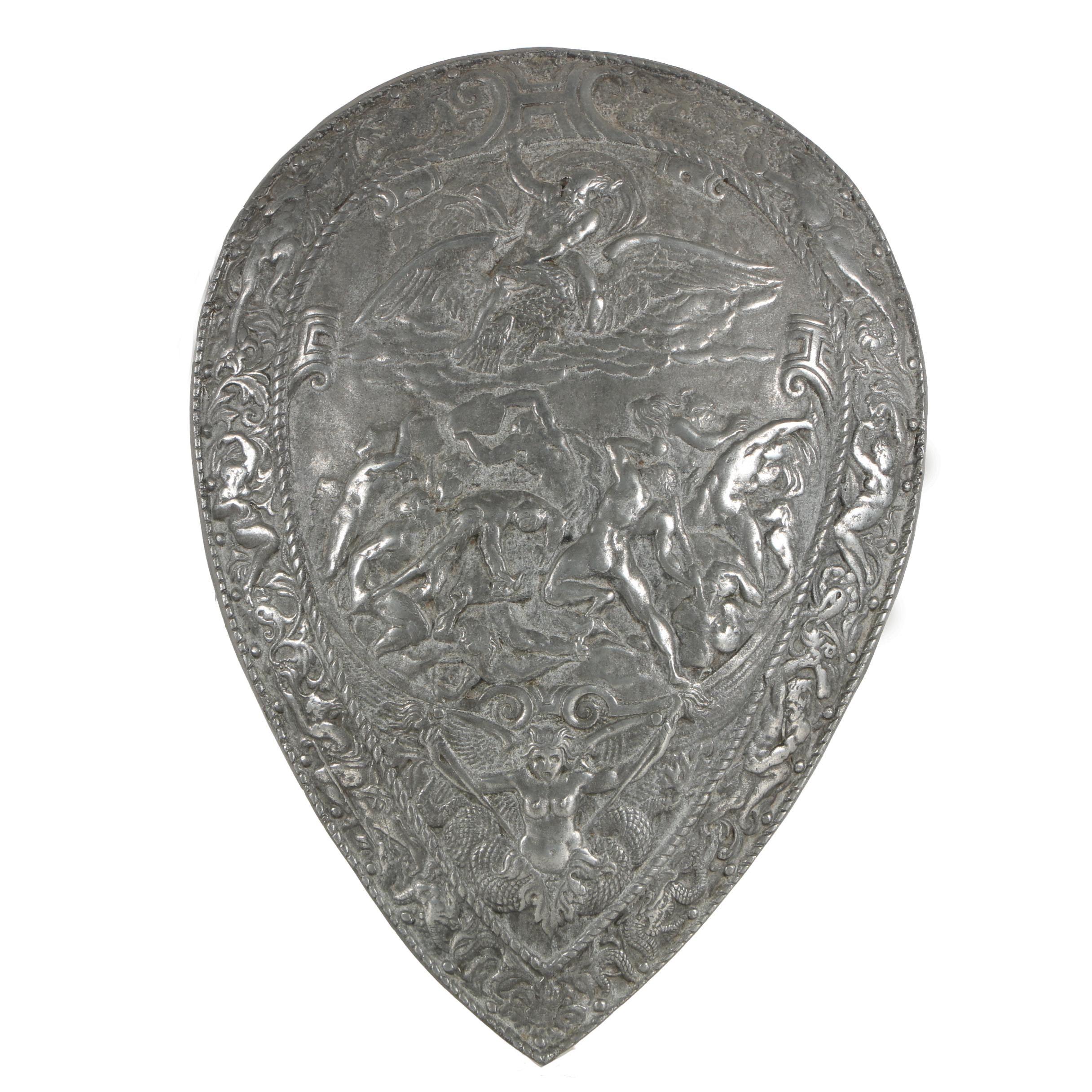 Modern Aluminum Reproduction Shield after Renaissance Era Germanic Shield