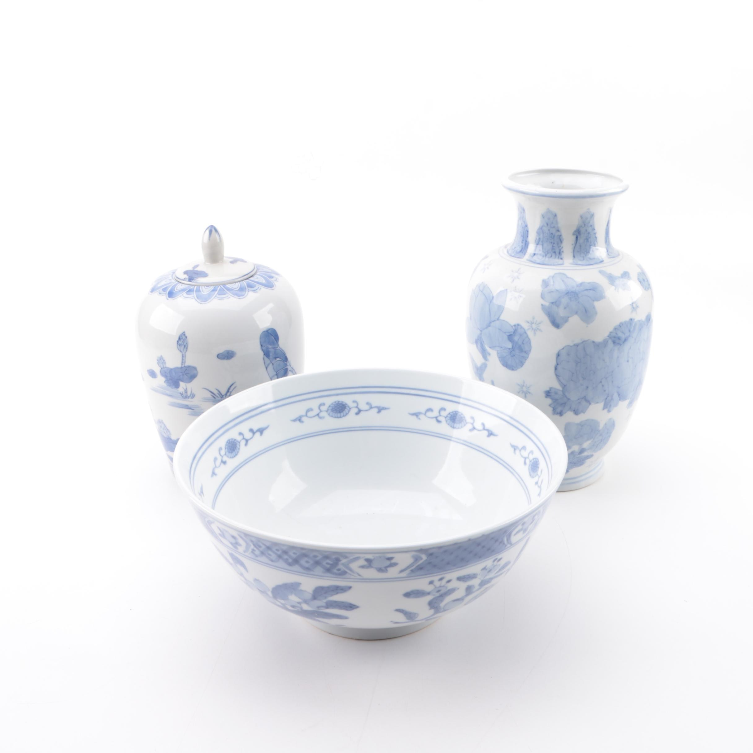 Chinese Hand-Painted Blue and White Porcelain Vase, Bowl, and Ginger Jar