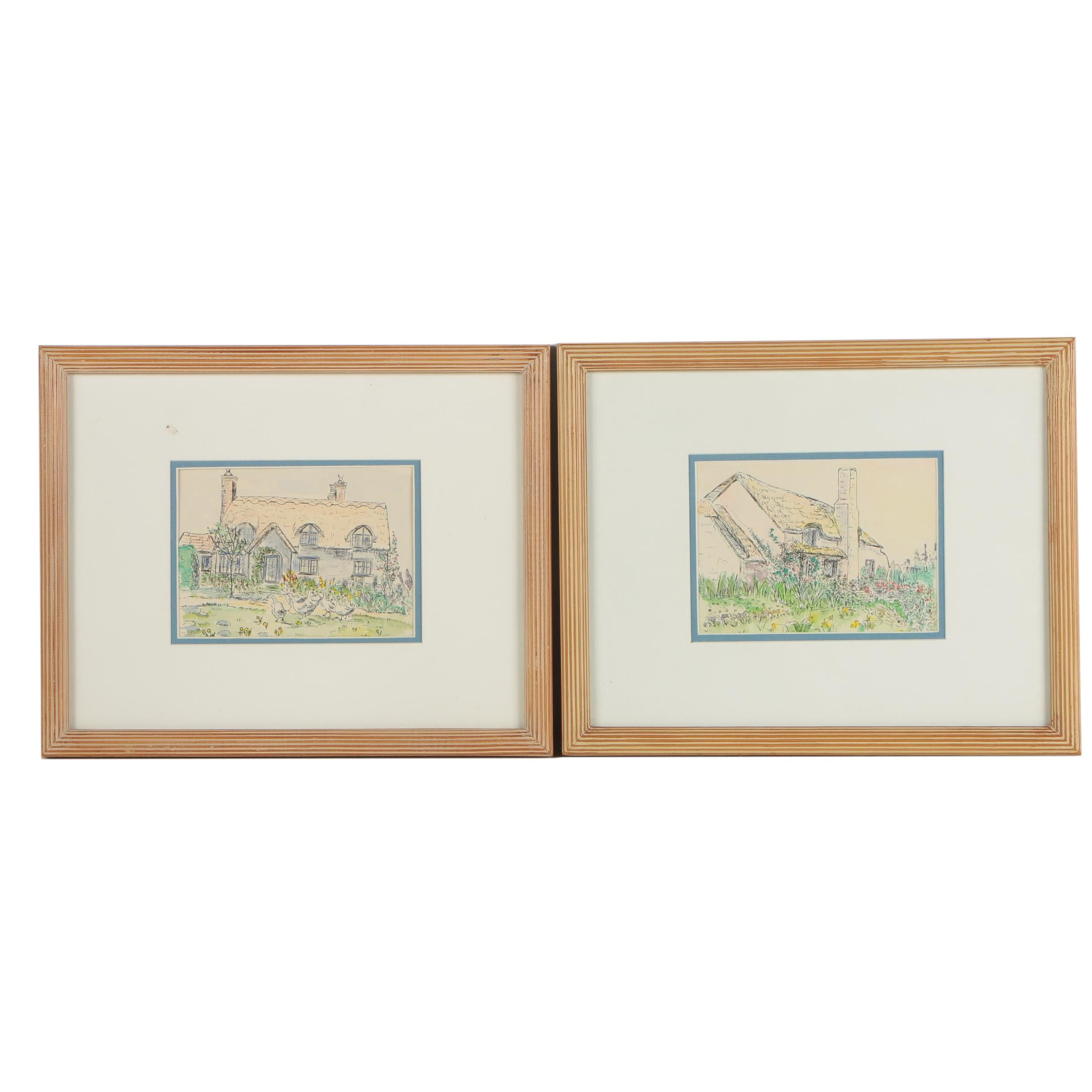 Hand Colored Lithographs Attributed to Clare Lombardo