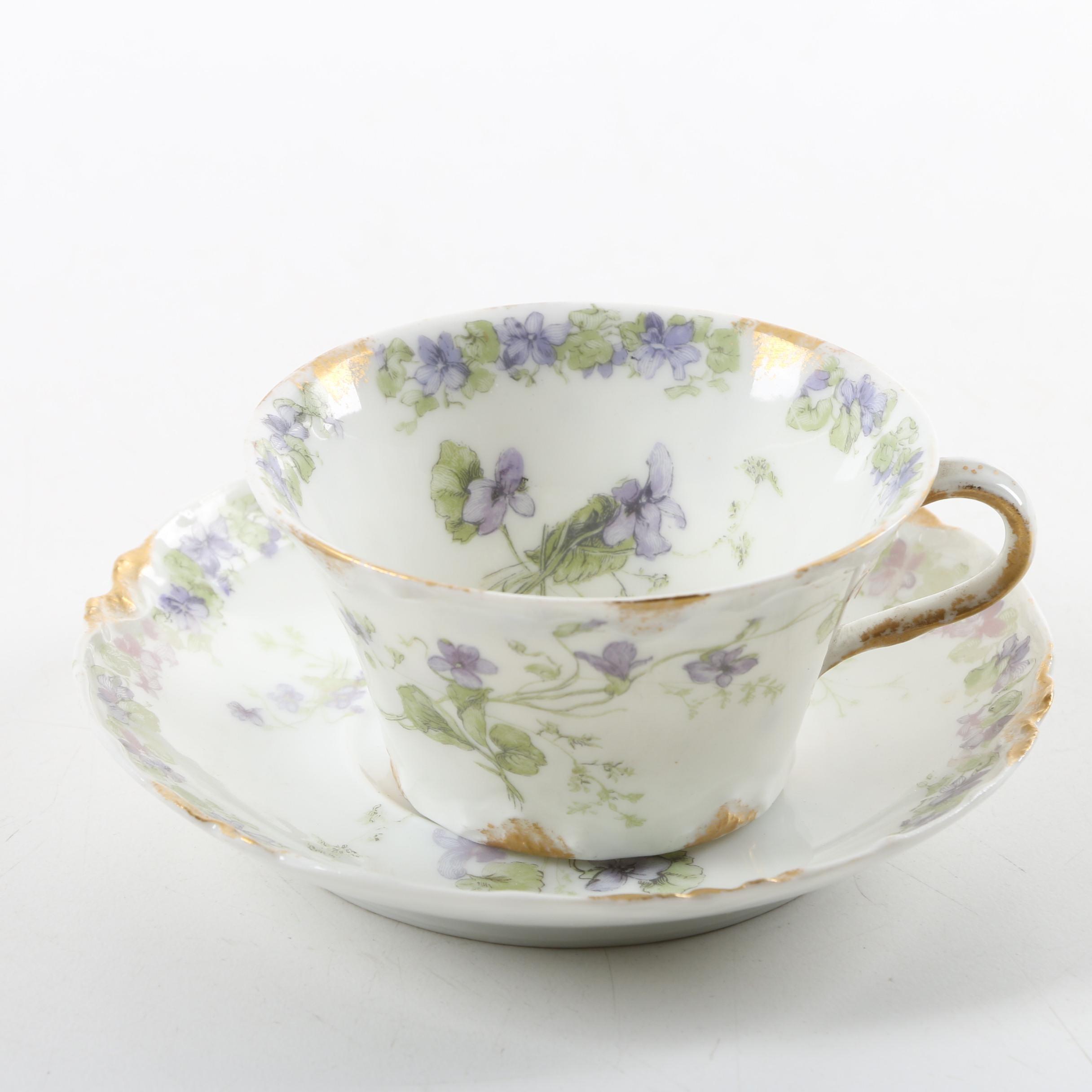 Antique Haviland & Co Limoges Porcelain Teacup and Saucer ca. 1893-96