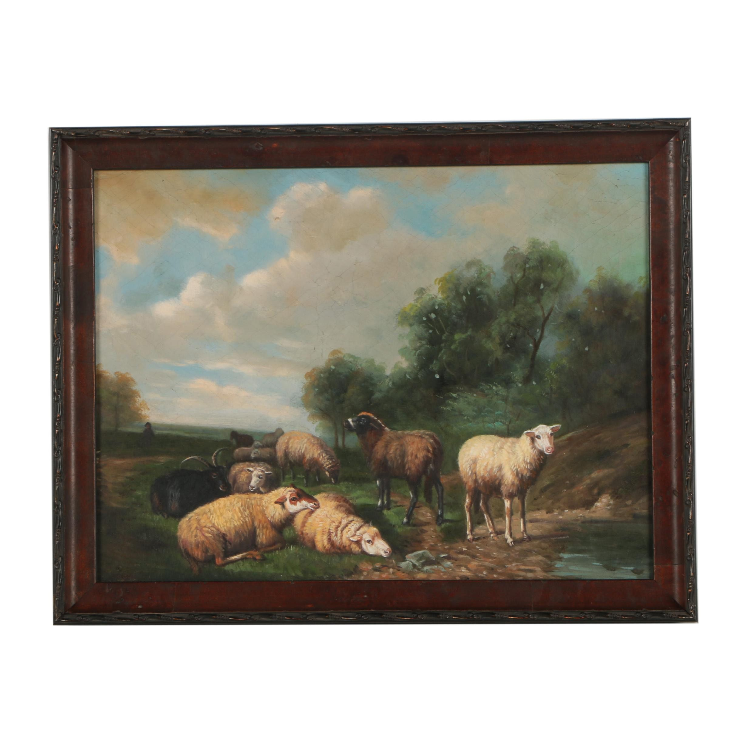 Oil Painting of a Flock of Sheep