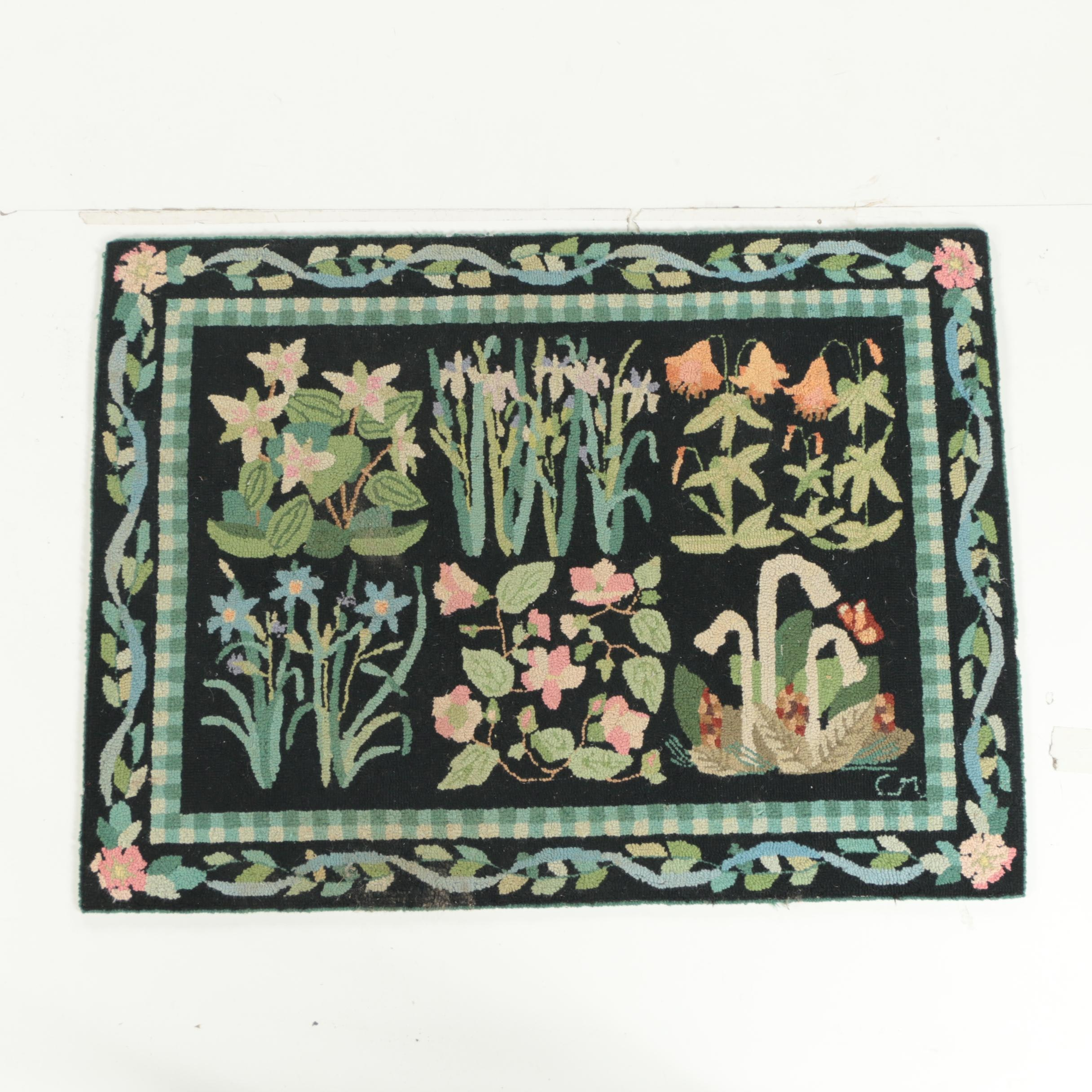 Vintage Hand Hooked Claire Murray Area Rug Ebth