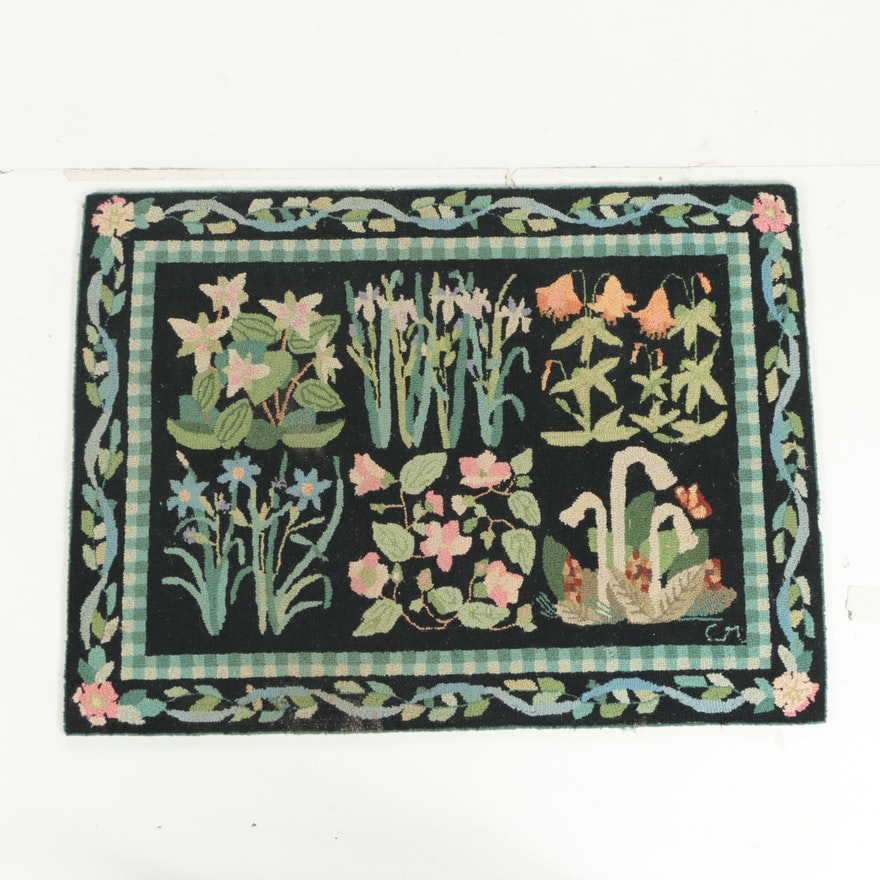 Vintage Hand Hooked Claire Murray Area Rug