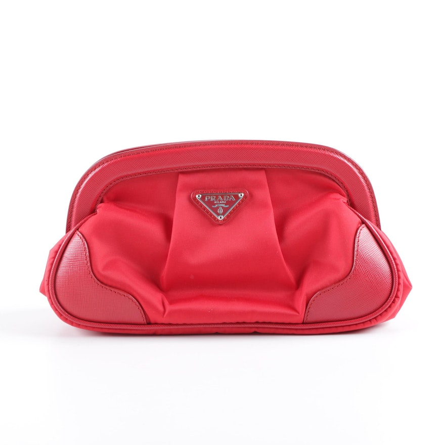79c7a8ca2c66 Prada Milano Red Nylon and Saffiano Leather Clutch : EBTH