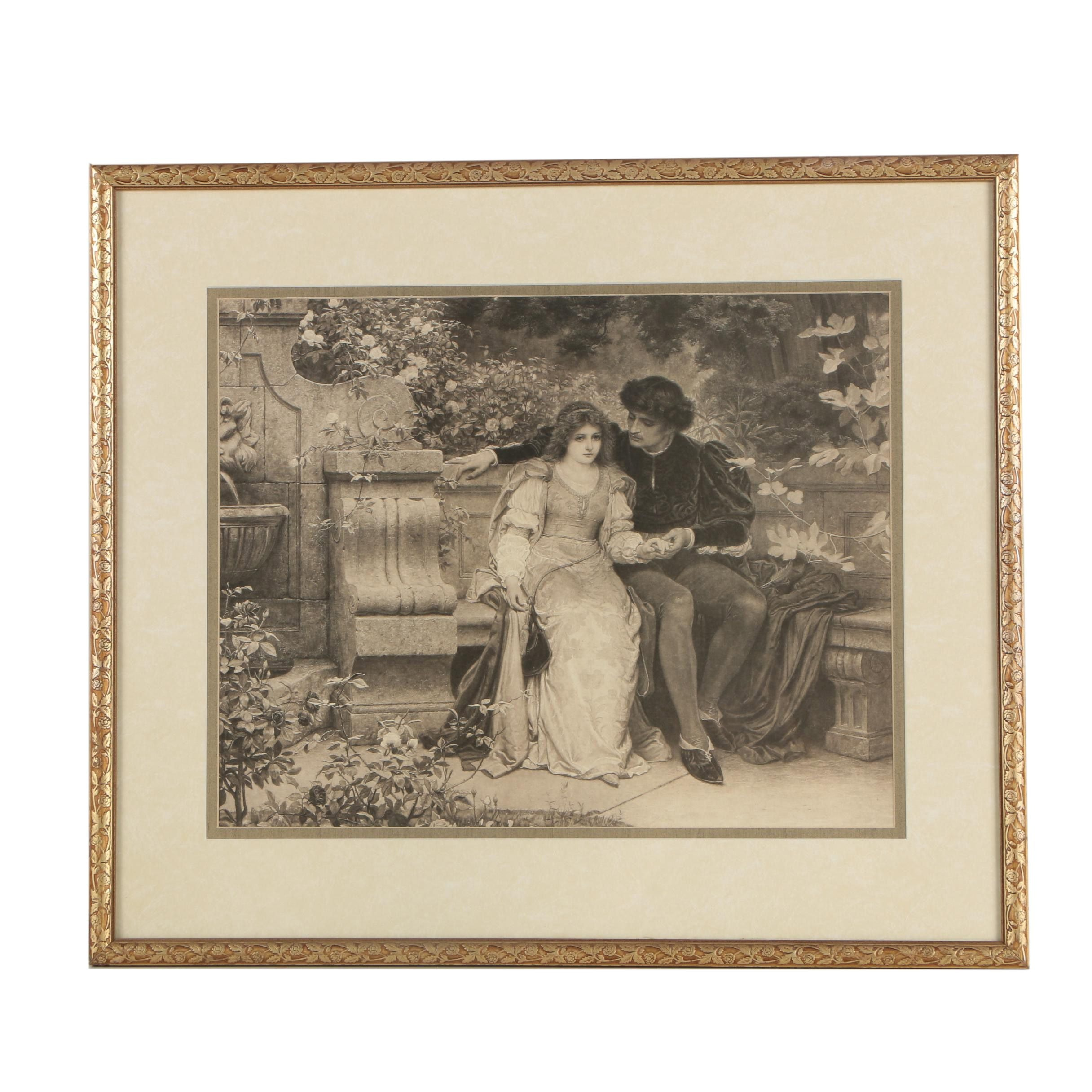 "Halftone Reproduction Print After Charles Edward Perugini ""Lovers in the Garden"""