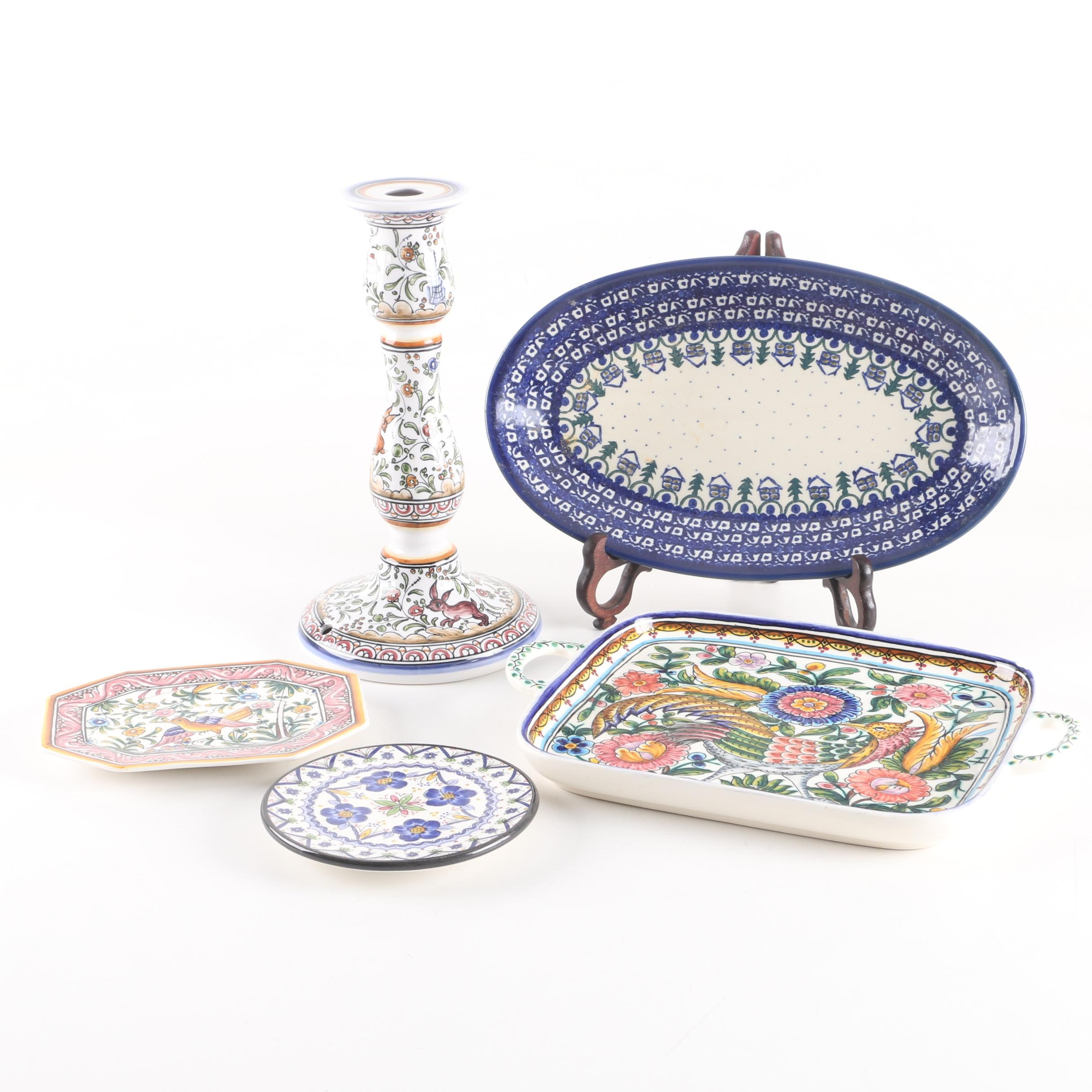 Hand-Painted Majolica Platters, Vessels, and a Candlestick
