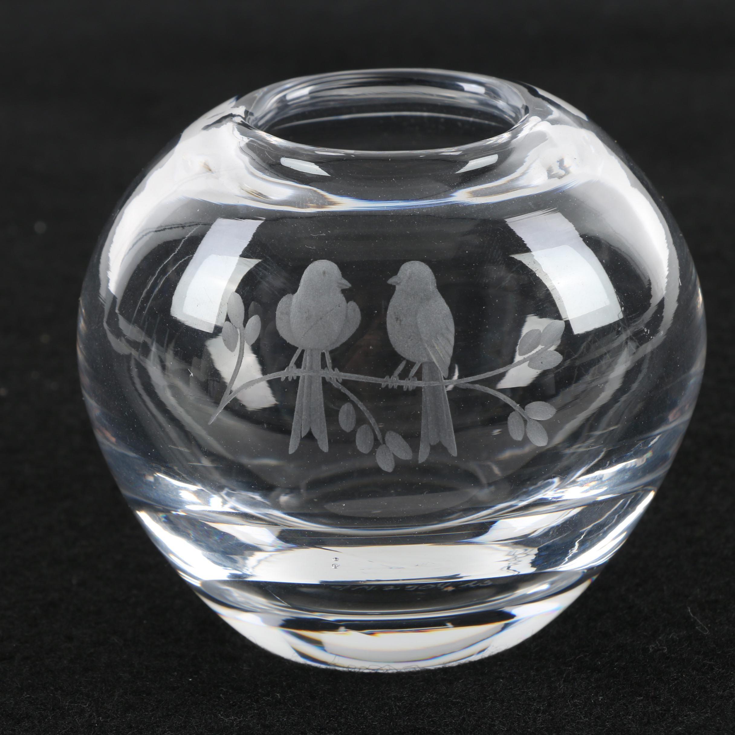 Signed Orrefors Swedish Crystal Vase