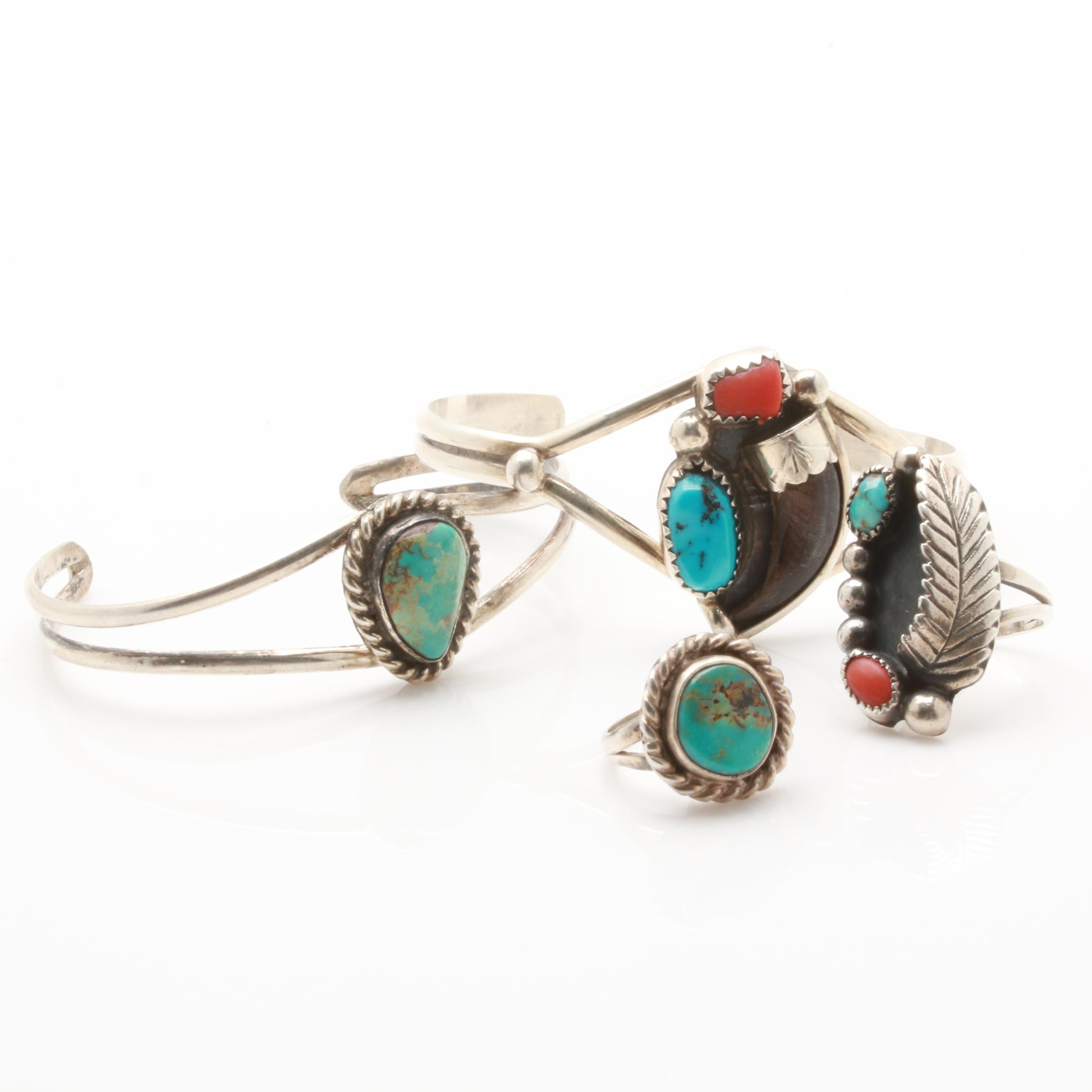 Howard Esalio Zuni Sterling Silver Turquoise and Coral Bracelet with Jewelry