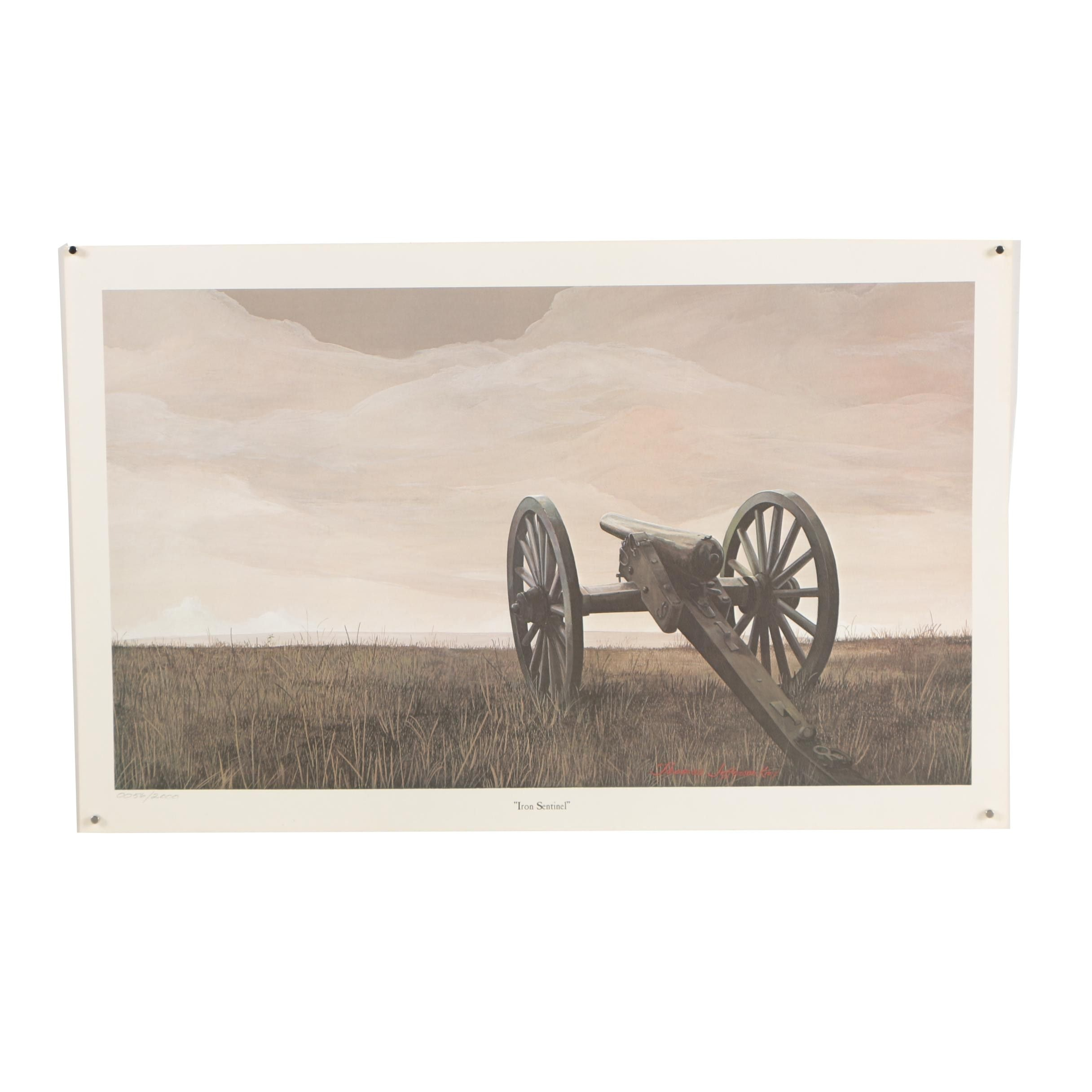 "Limited Edition Offset Lithograph After Thomas Jefferson Knox ""Iron Sentinel"""