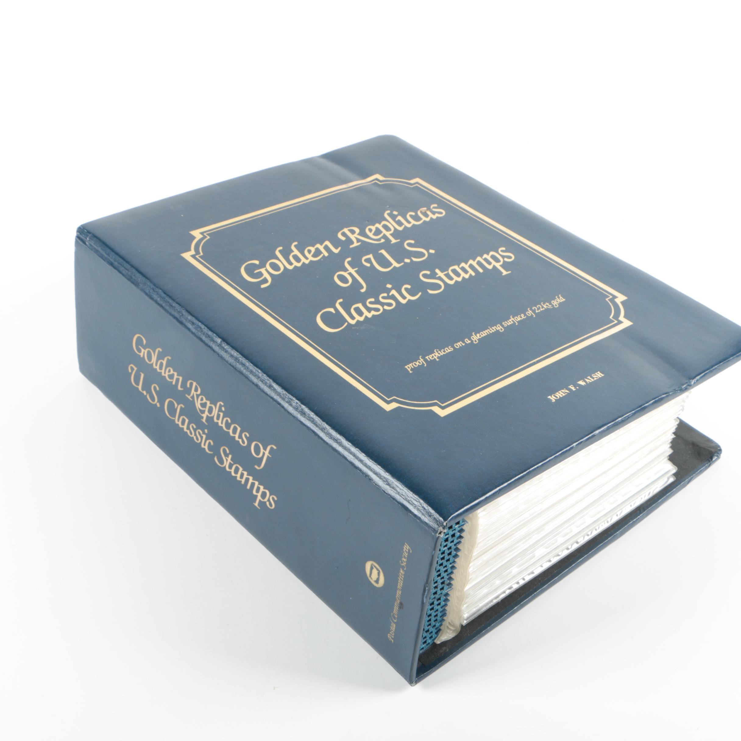 """""""Golden Replicas Of U.S. Classic Stamps"""" Album"""