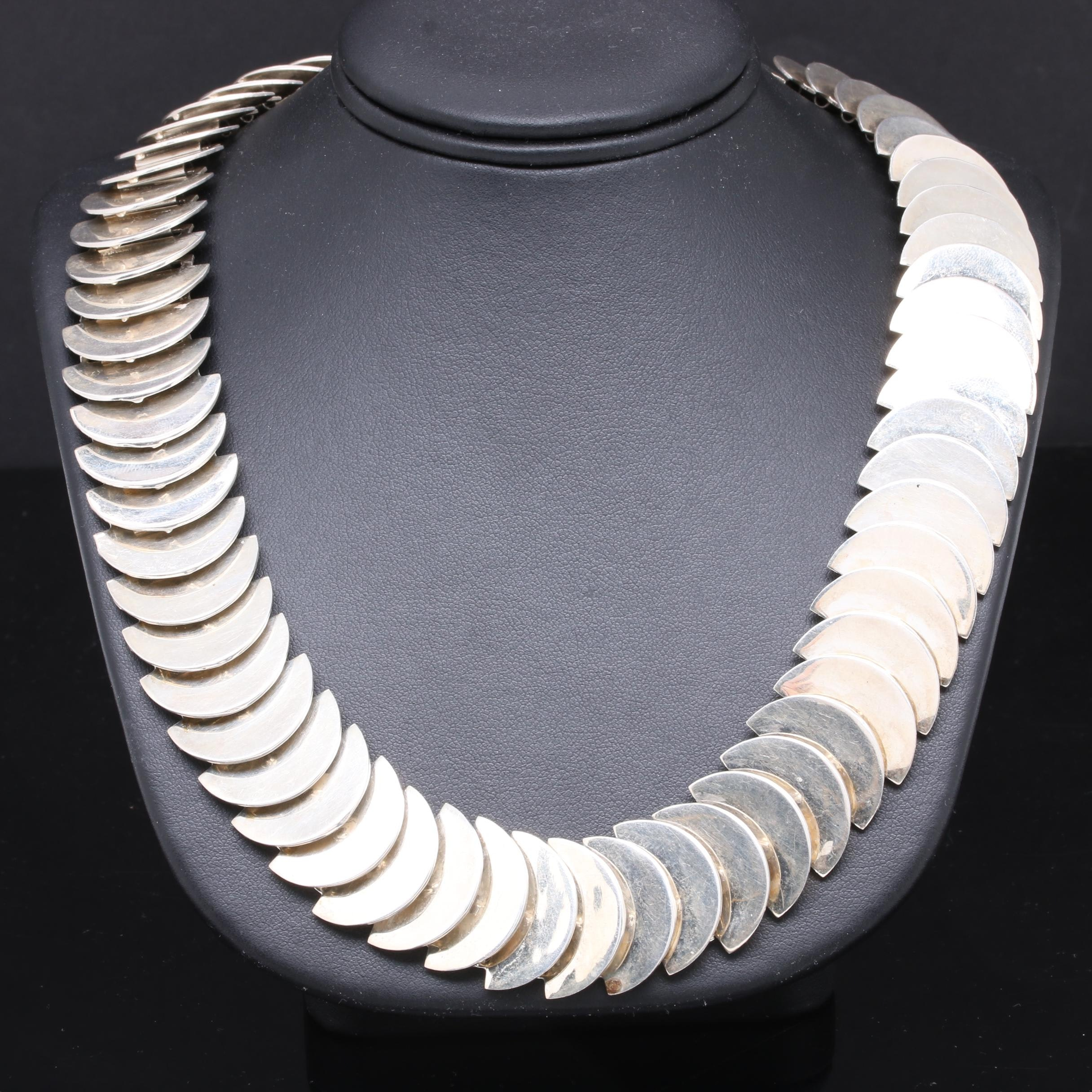 Sterling Silver Taxco Mexico Modernist Style Necklace