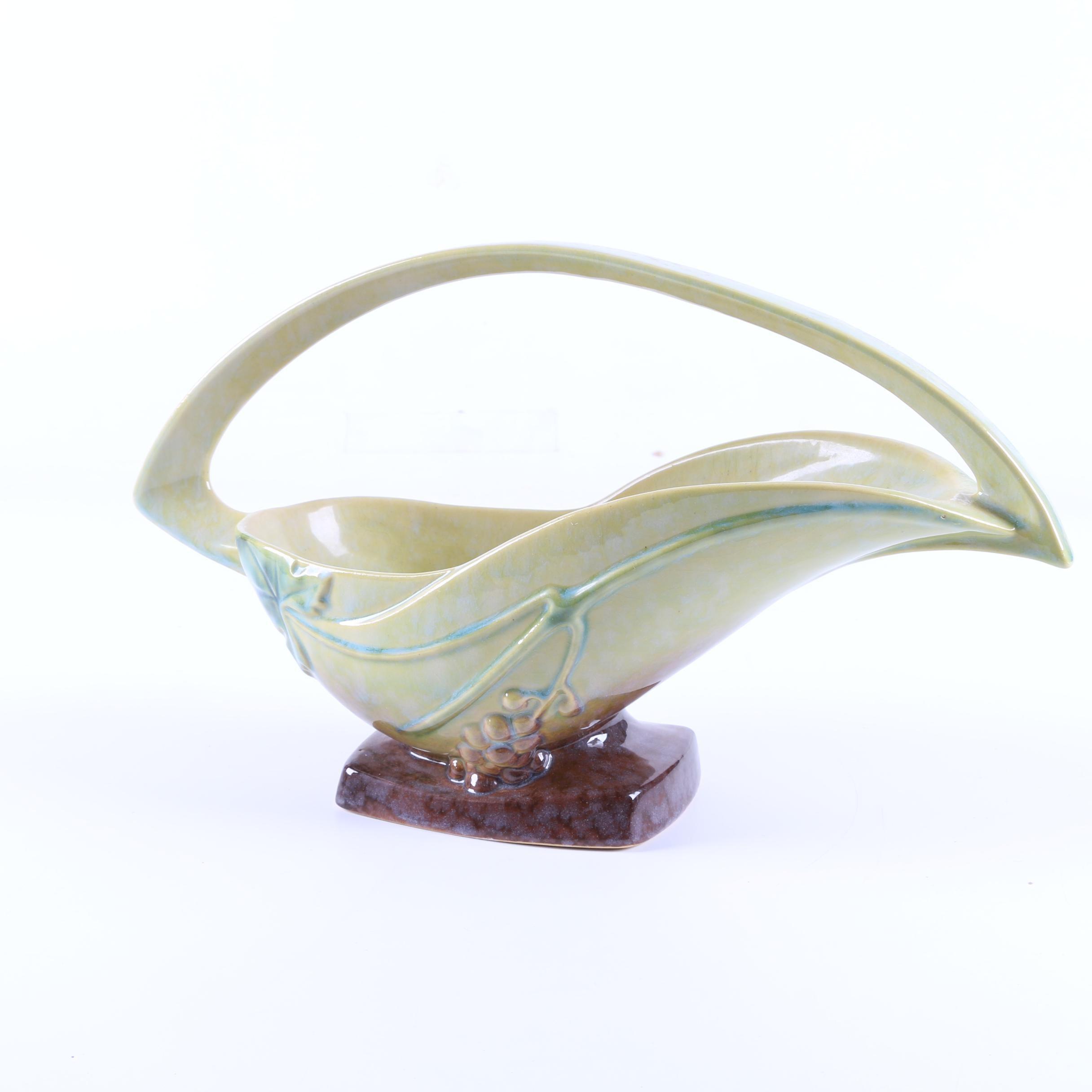 "Roseville Pottery Art Deco ""Wincraft"" Basket Vase"