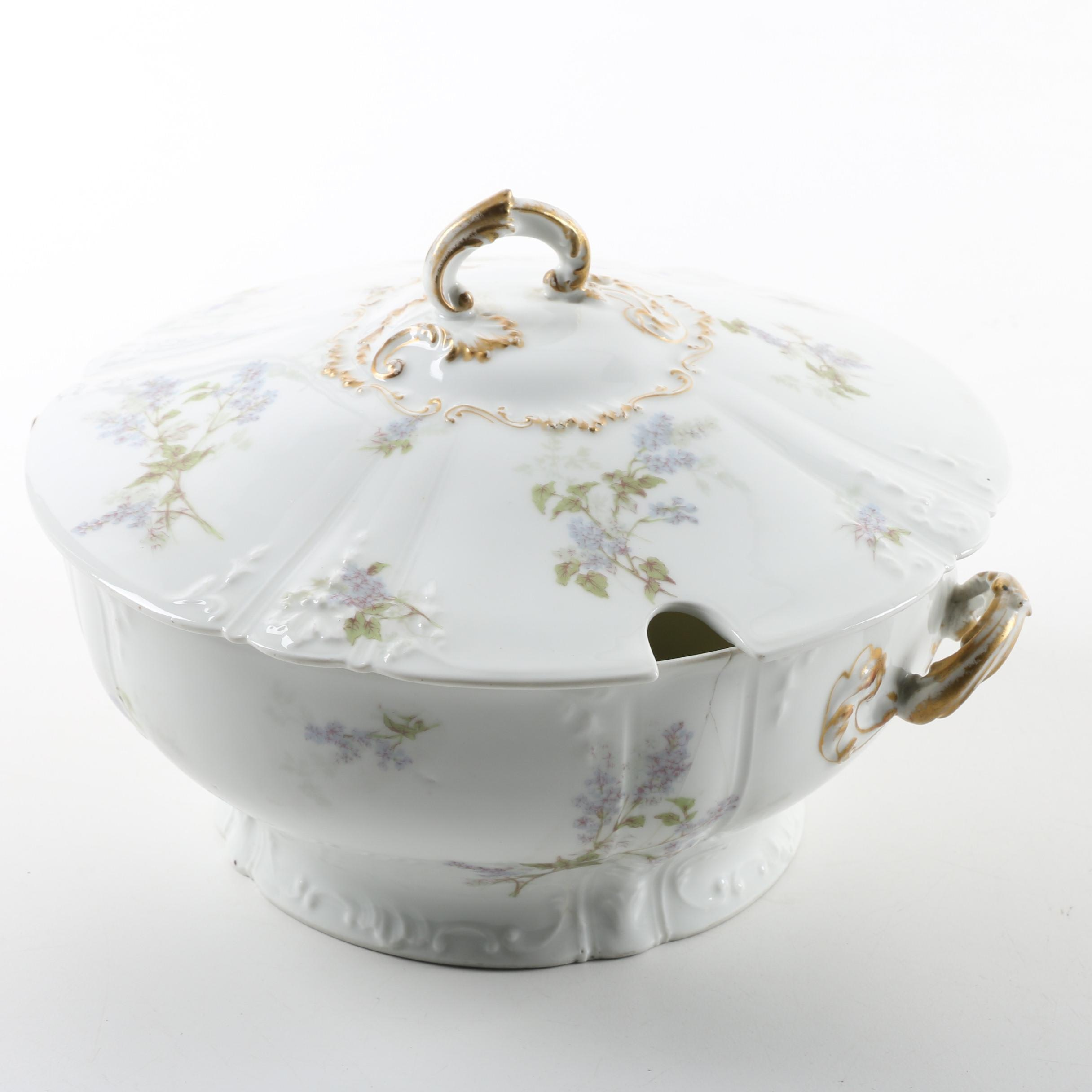 Vintage CF Haviland Limoges Porcelain Soup Tureen