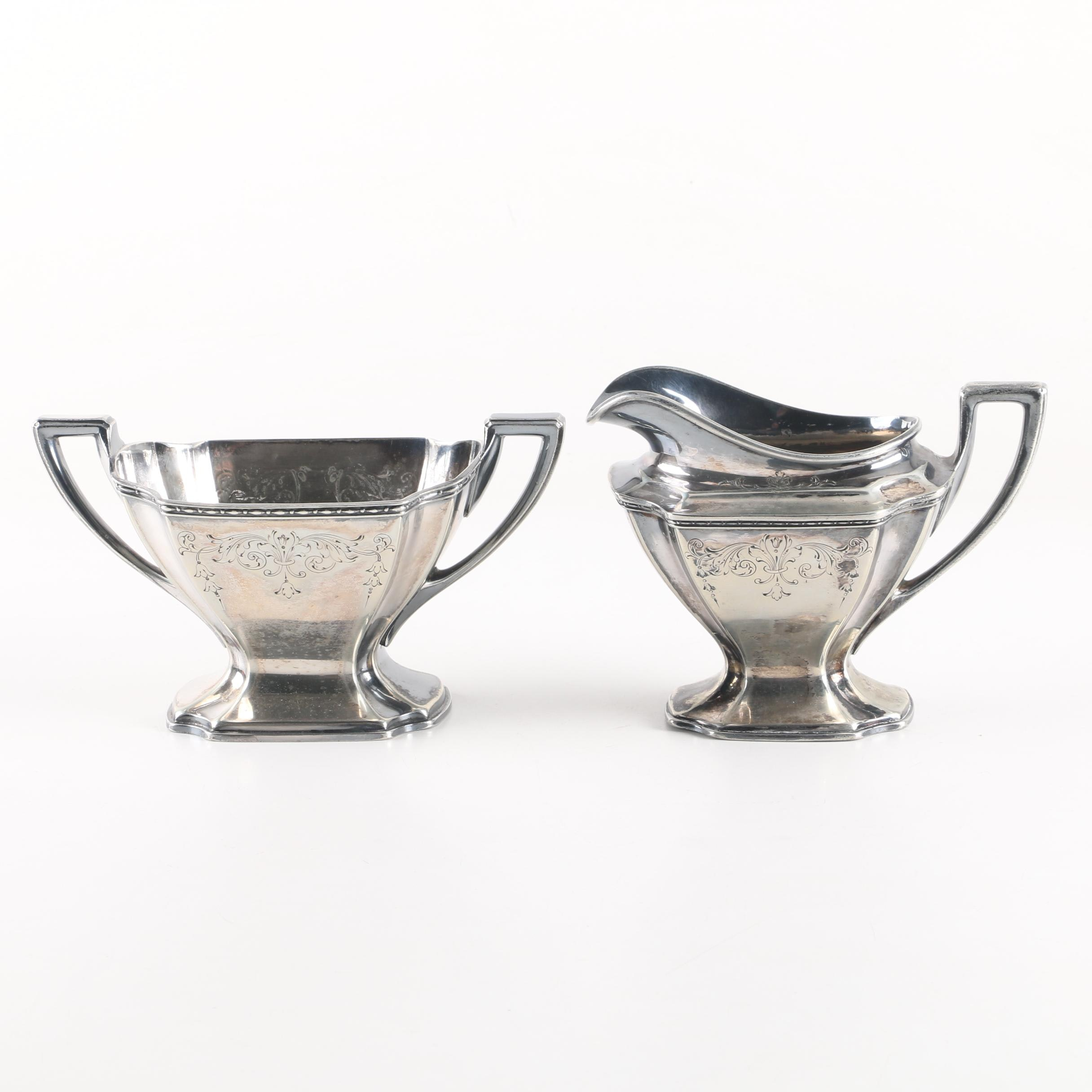 """Antique W.D. Smith Silver Co. """"Chippendale"""" Silver Plate Sugar Bowl and Creamer"""