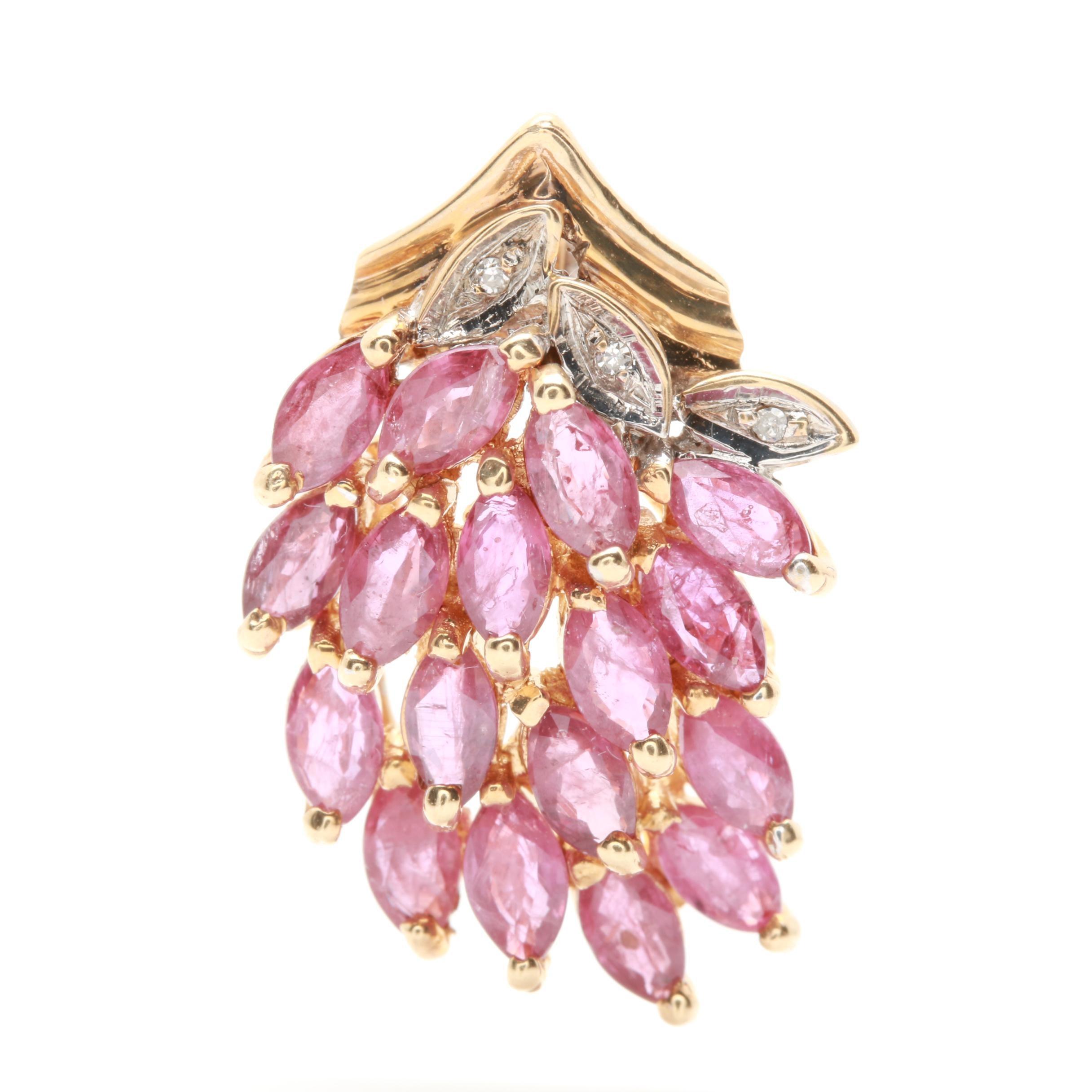 10K Yellow Gold Ruby and Diamond Foliate Pendant
