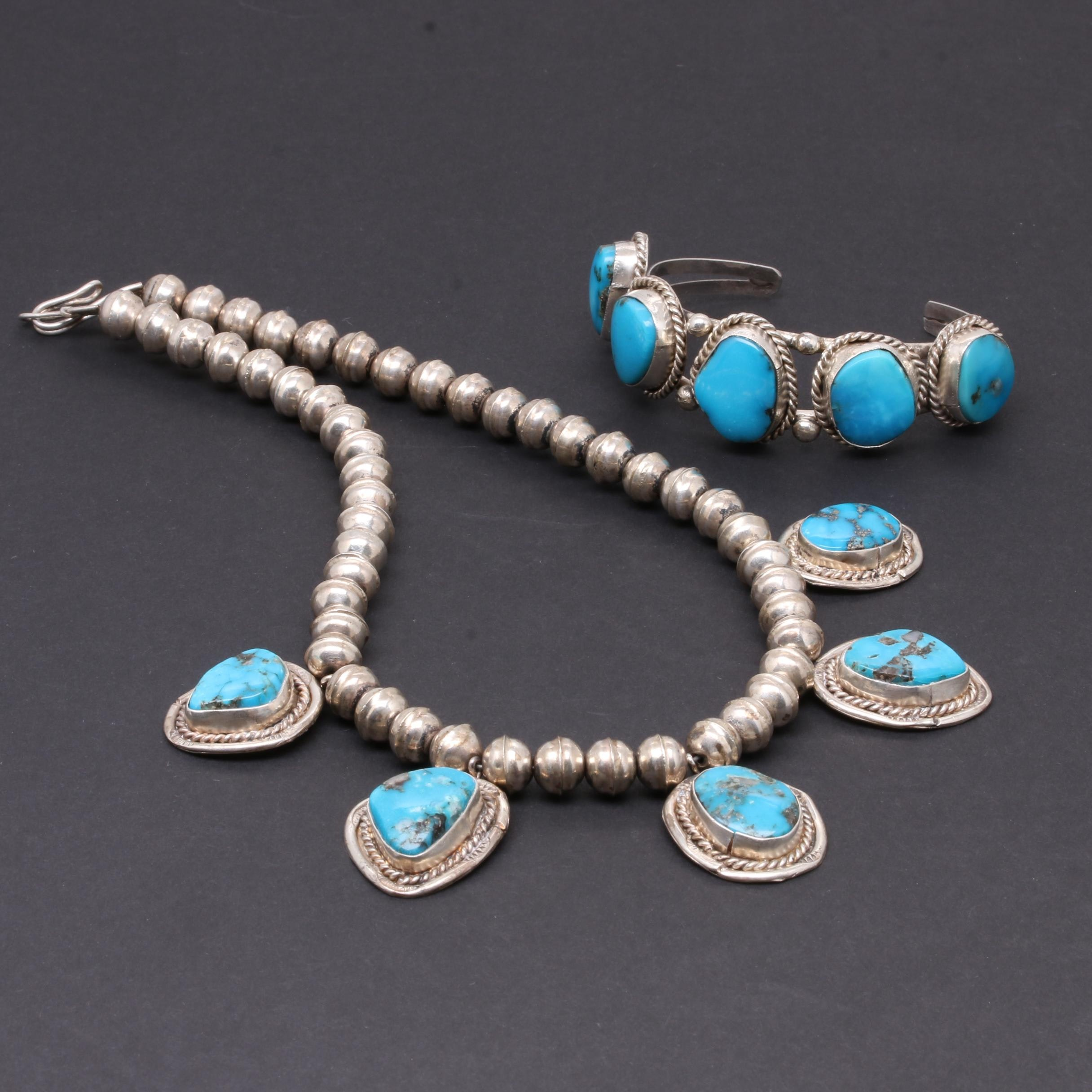 Southwestern Style Sterling Silver Stabilized Turquoise Bracelet and Necklace