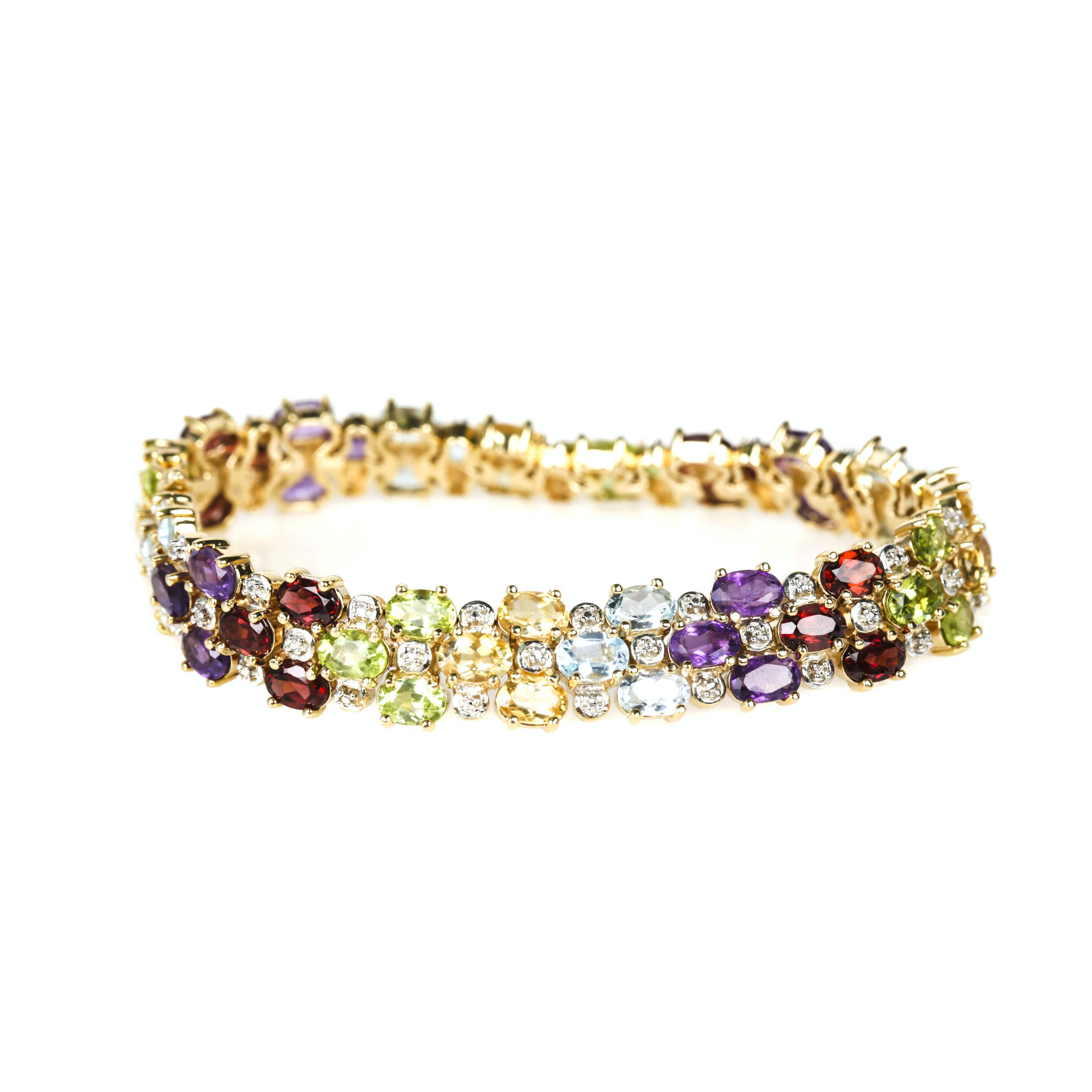 Gold Wash Sterling Silver Gemstone and Diamond Bracelet and Ring