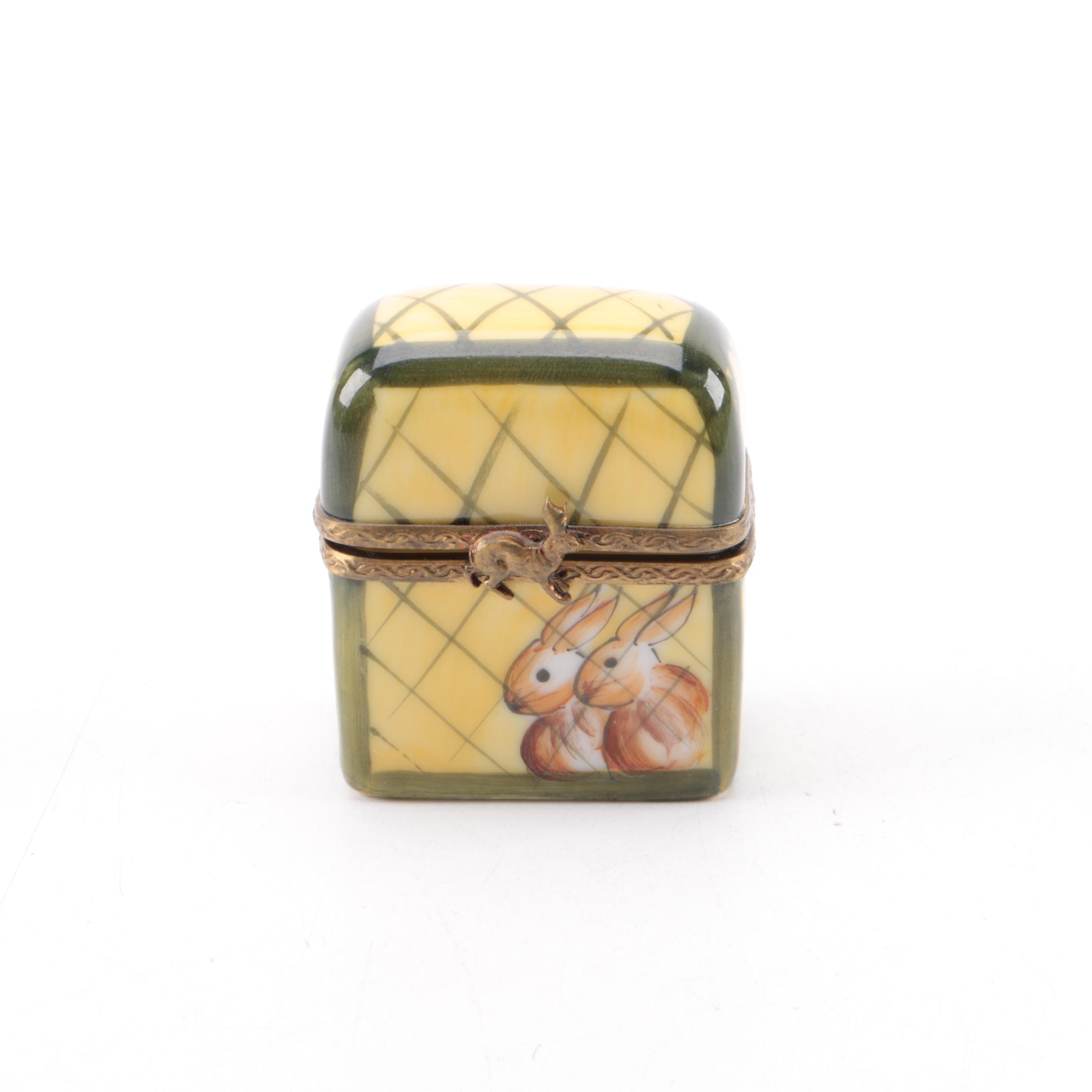 Limoges Bunny Crate Shaped Porcelain Trinket Box