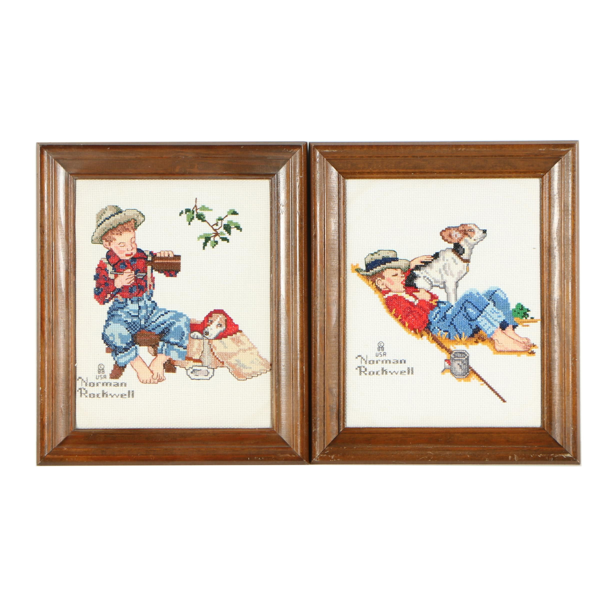 "Cross-Stitch Embroideries After Norman Rockwell's ""A Boy and His Dog"" Series"