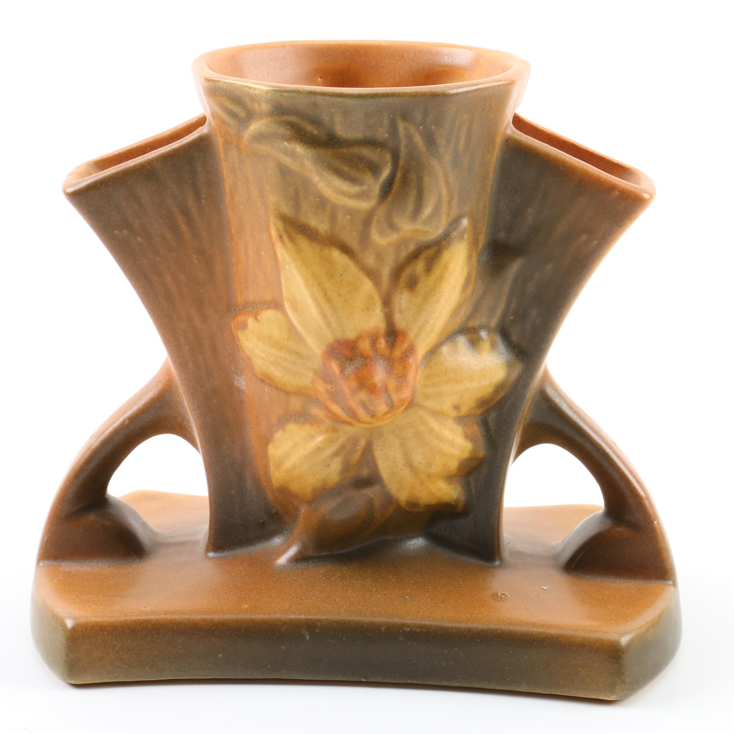 "1940s Roseville Pottery ""Clematis"" Triple Bud Vase"