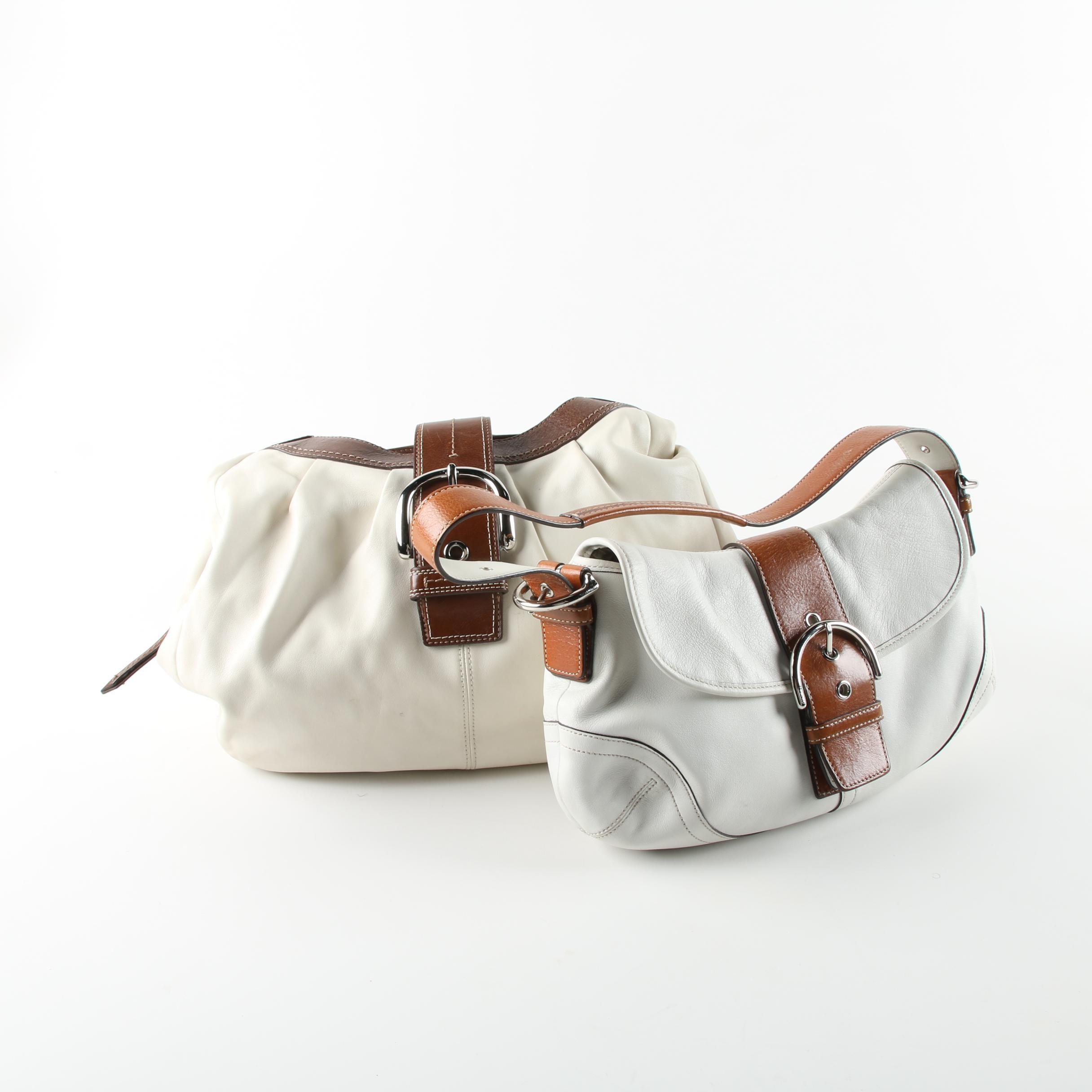 Coach Soho White Leather Baguette and Soho Cream Leather Hobo Bag