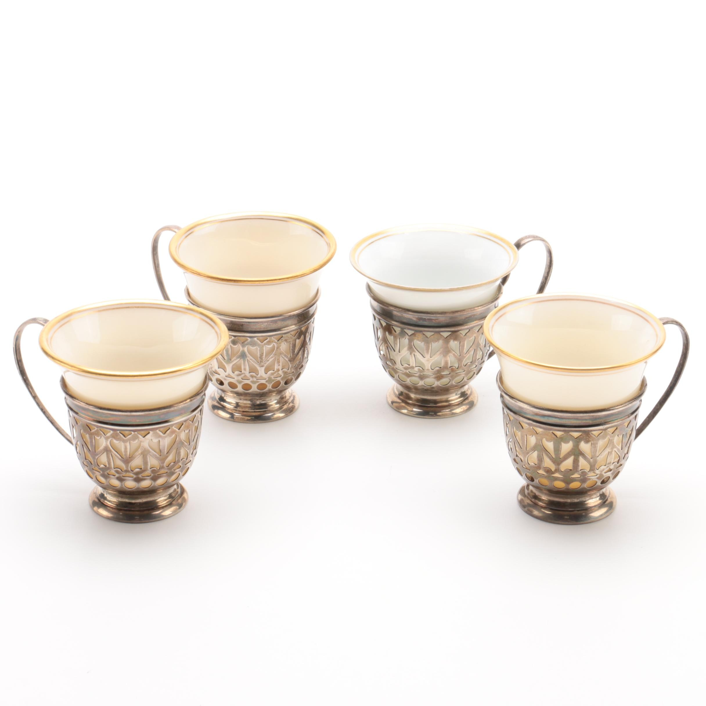 Lenox Porcelain Demitasse Cups with Gorham Sterling Silver Mounts