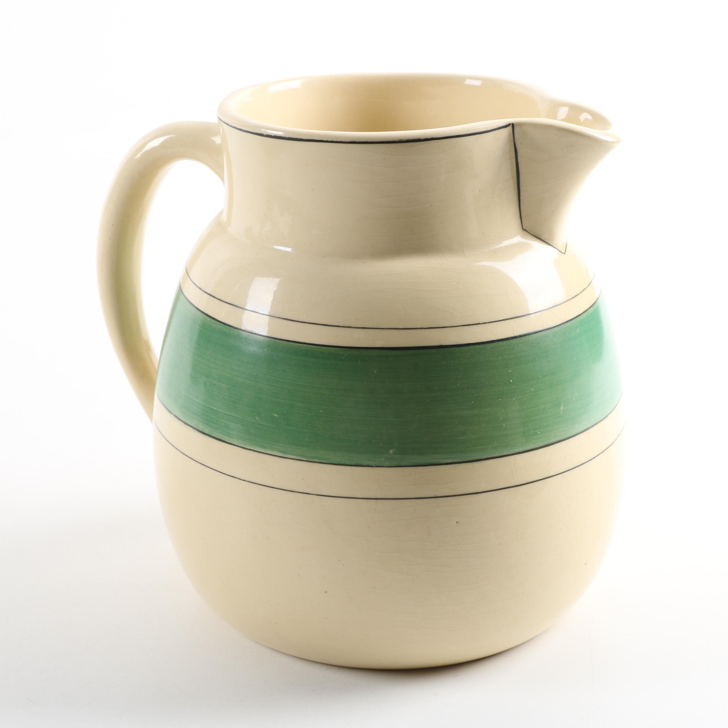 "Roseville Pottery ""Creamware"" Green Band Pitcher"