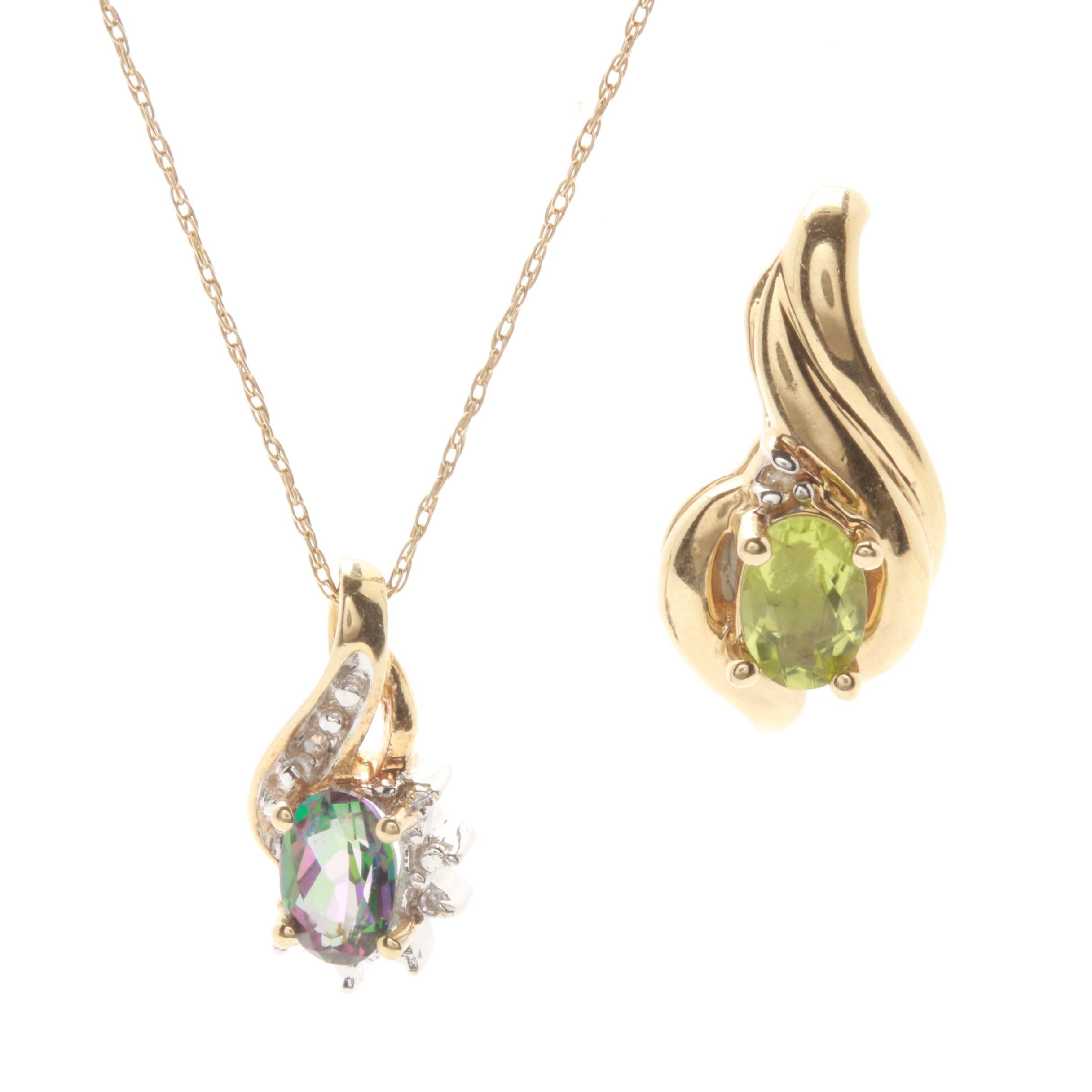 10K Yellow Gold Peridot, Diamond and Topaz Pendant and Necklace