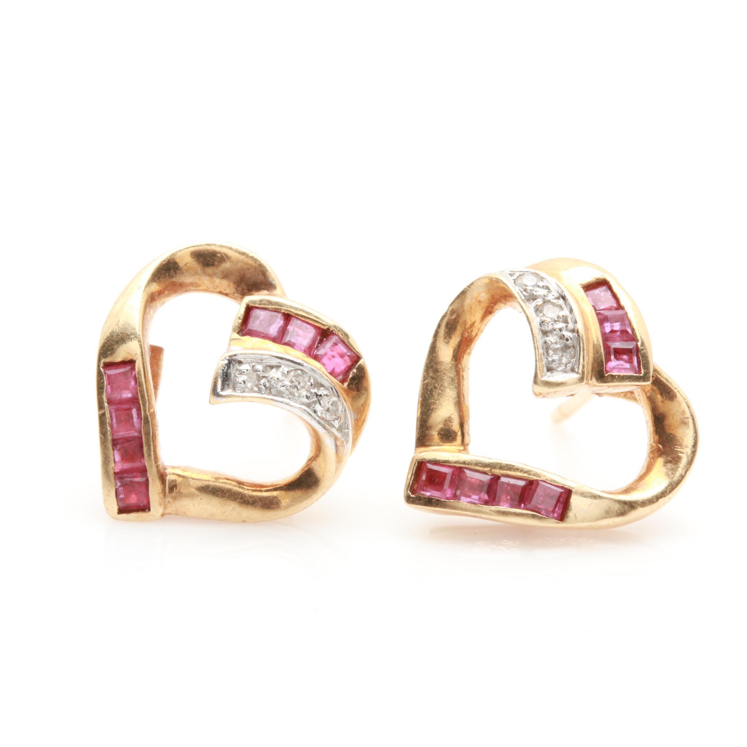 14K Yellow Gold Ruby and Diamond Heart Earrings