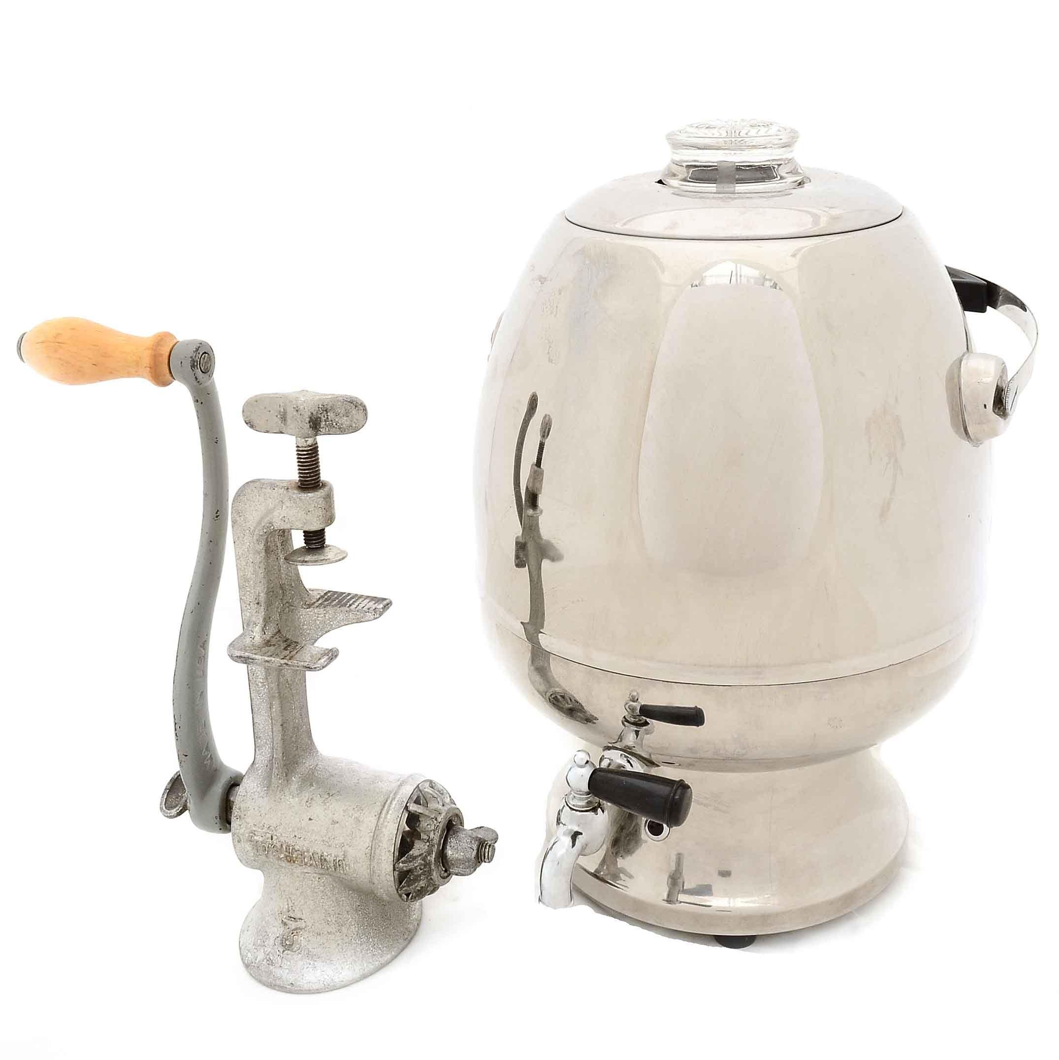 Vintage Coffee Percalator and Meat Grinder