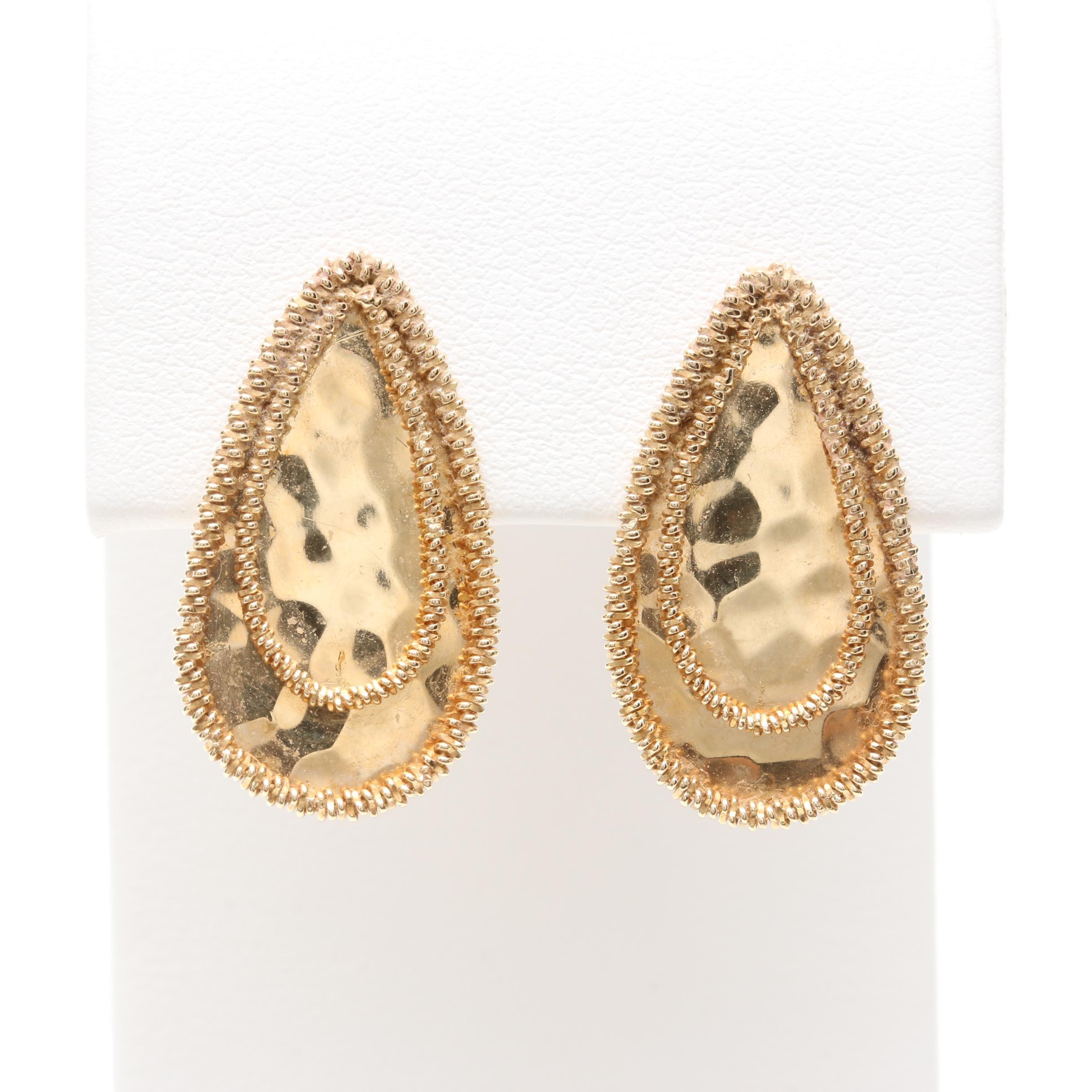 14K Yellow Gold Teardrop Earrings