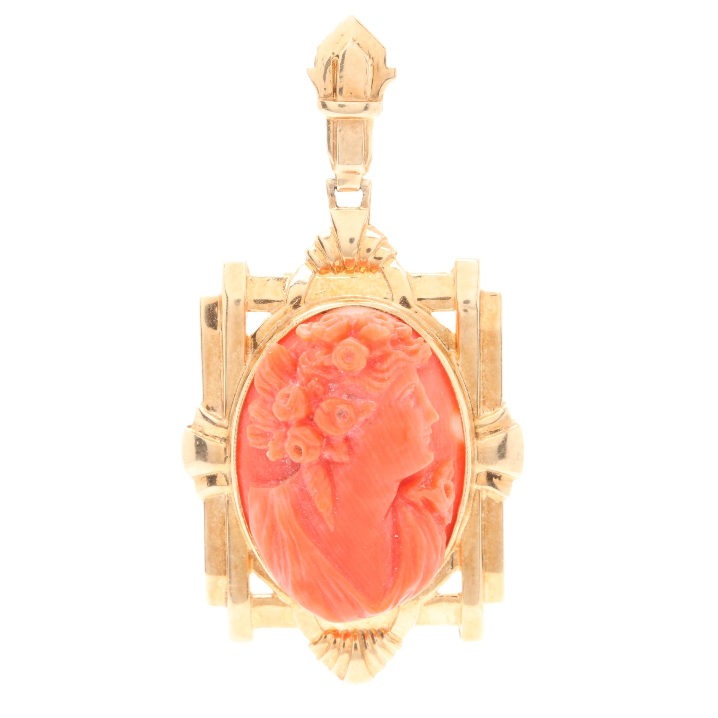 Arts and Crafts Era 14K Yellow Gold Coral Cameo Pendant