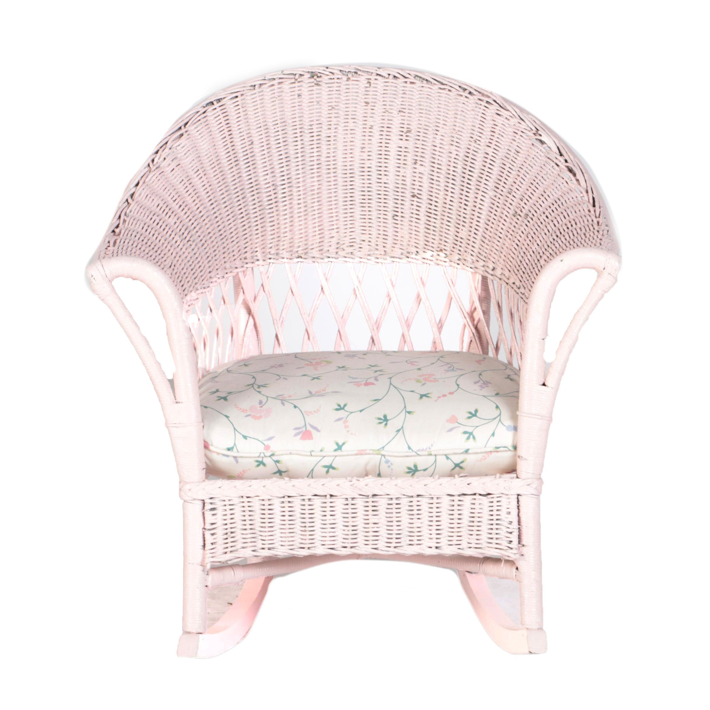 Wicker Pink Painted Rocking Chair