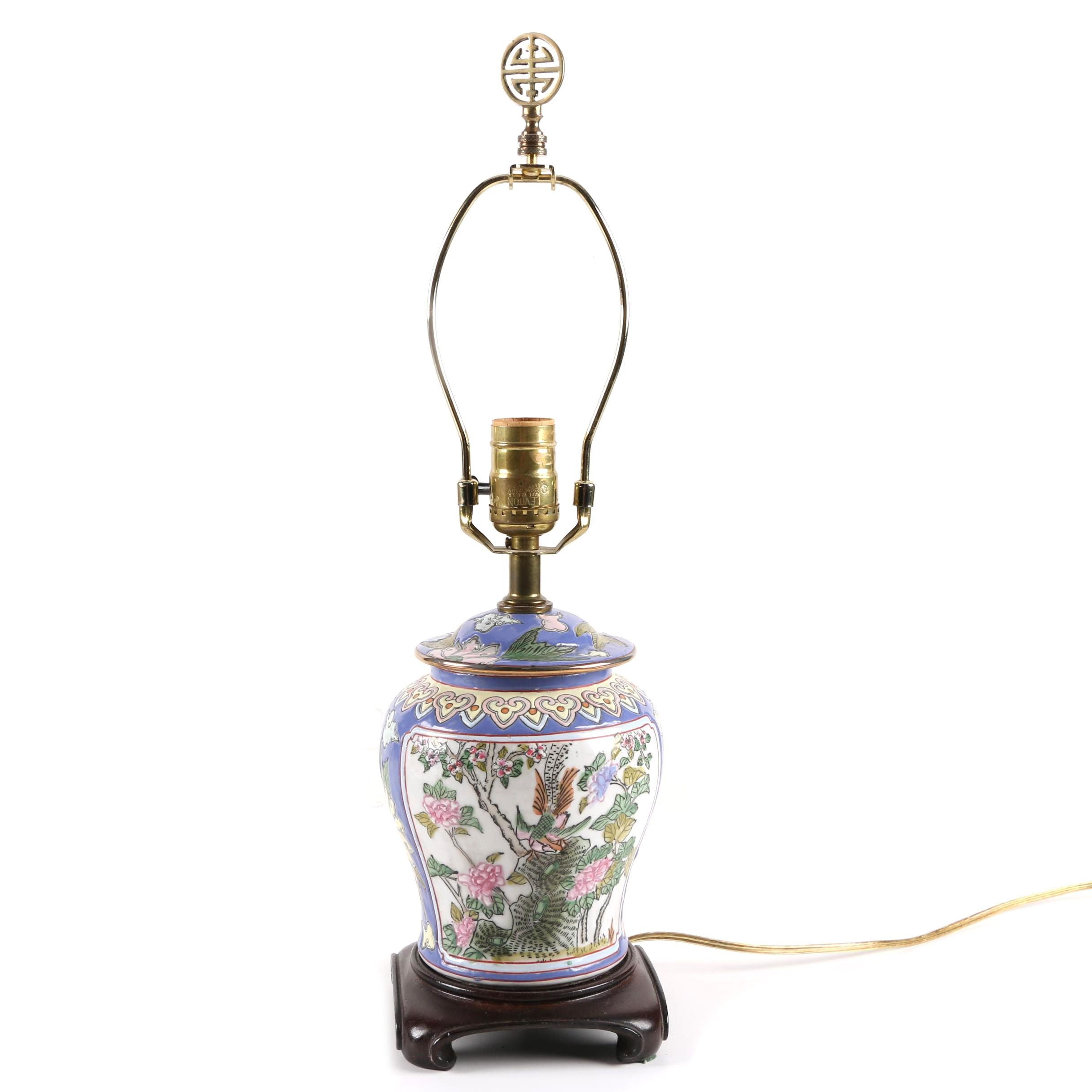 Hand-Painted Chinoiserie Porcelain Lamp
