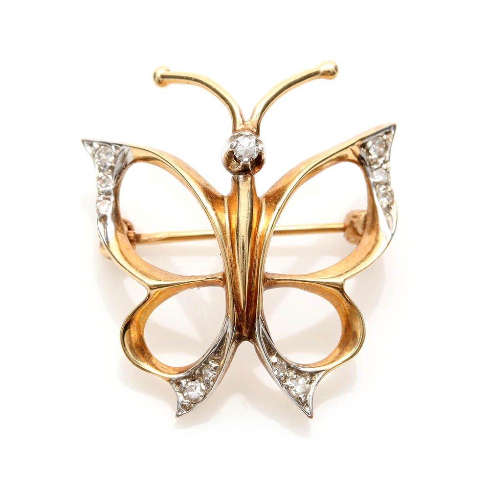 14K Yellow Gold Diamond Open Butterfly Brooch