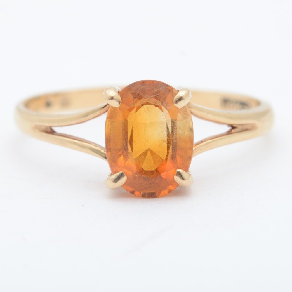 14K Yellow Gold and Citrine Solitaire Ring
