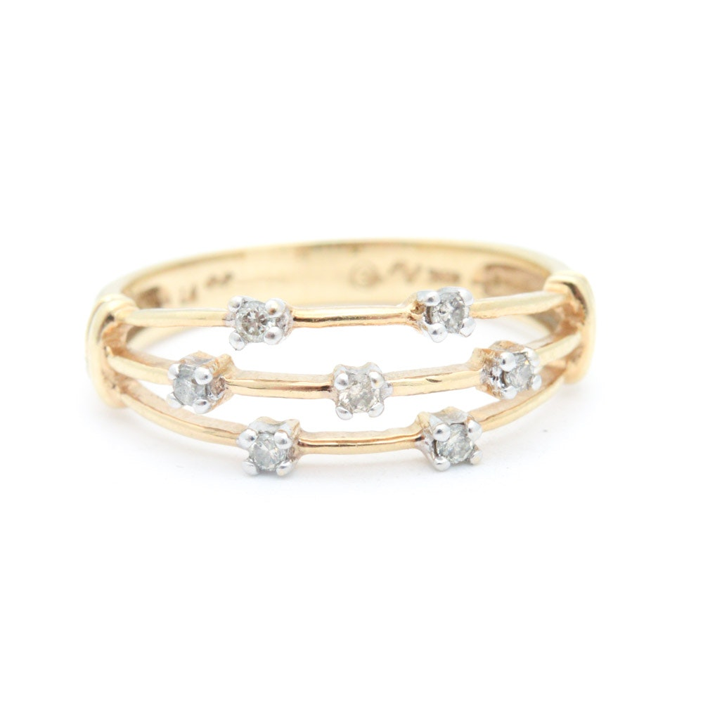 10K Yellow Gold and Diamond Ring