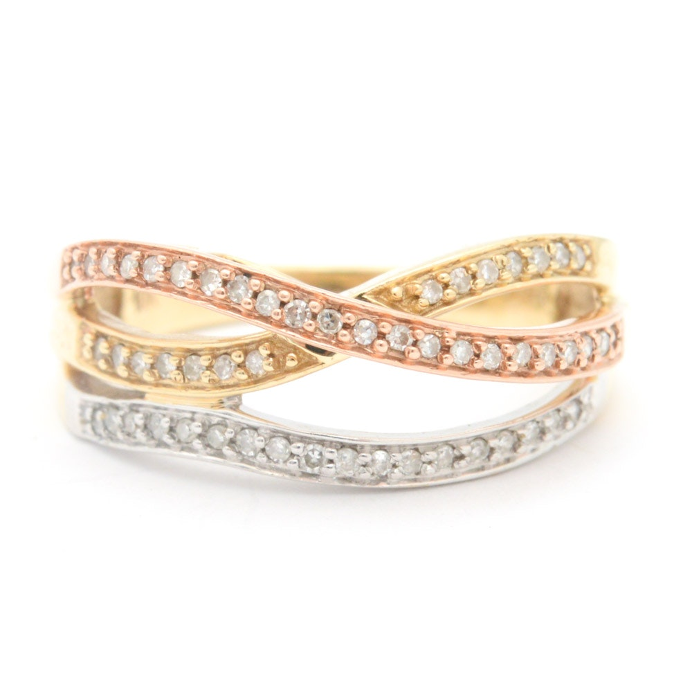 10K Tri-Color Gold and Diamond Ring
