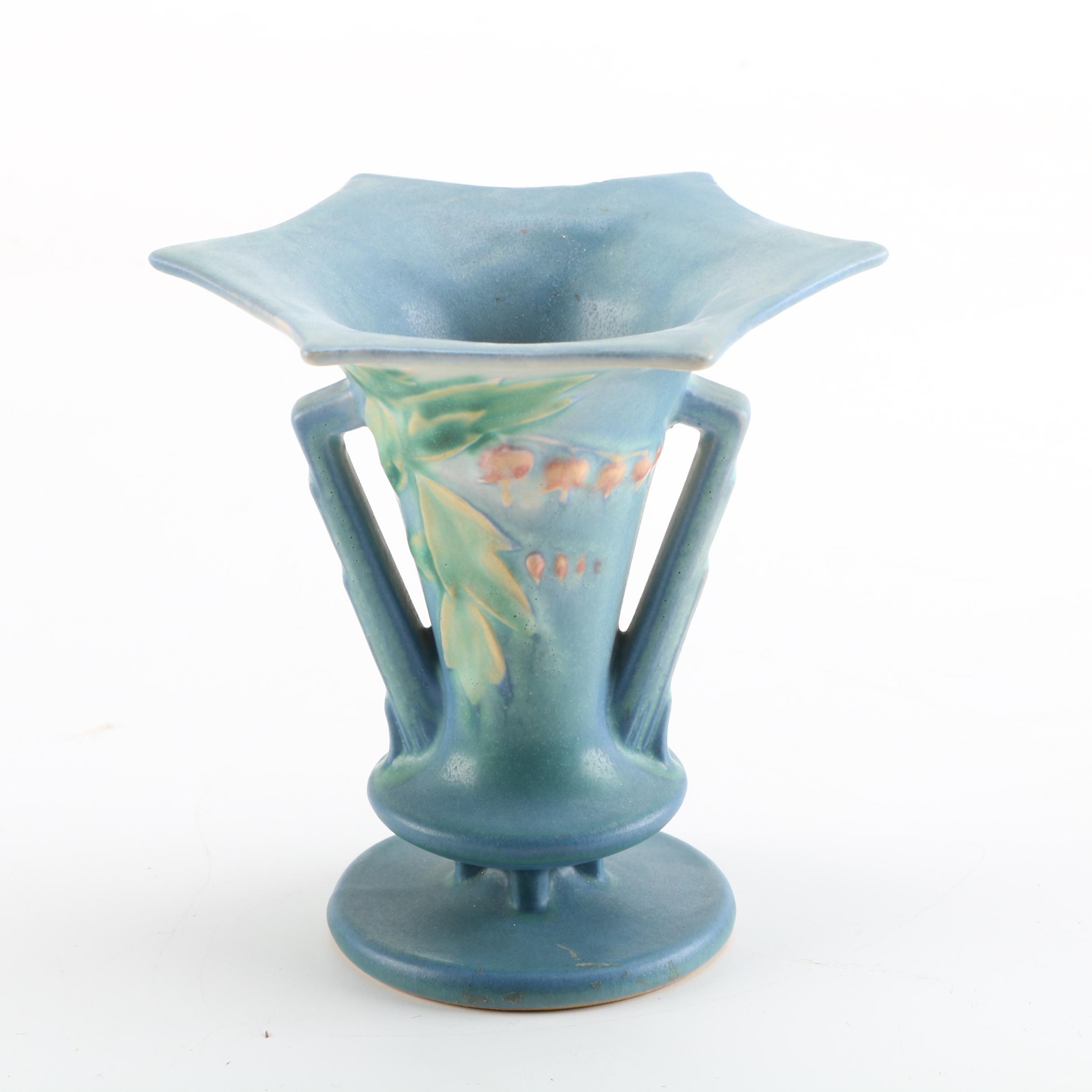 """Roseville Pottery """"Bleeding Heart"""" Flared Vase"""