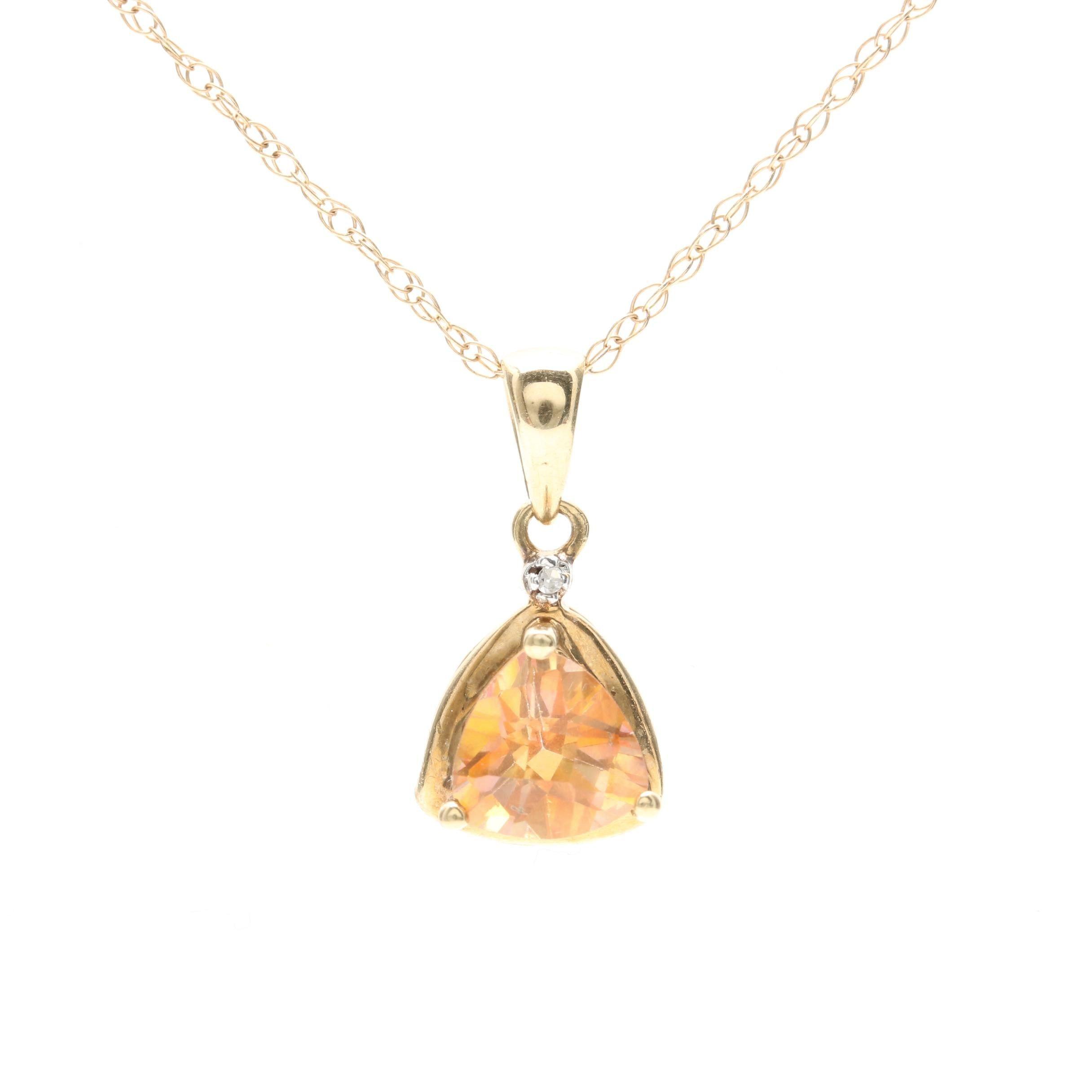 10K Yellow Gold Topaz and Diamond Pendant Necklace