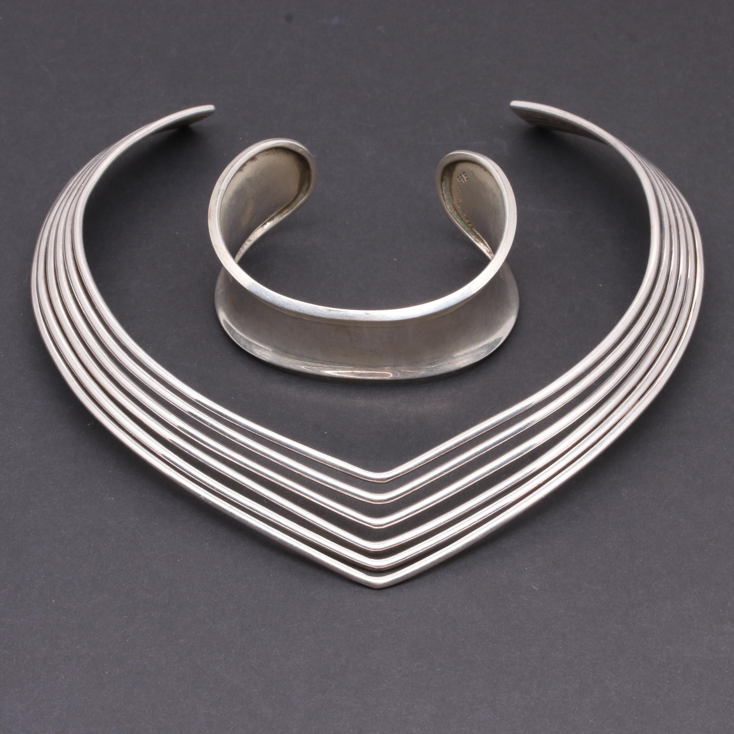Sterling Silver Cuff Bracelet and Necklace