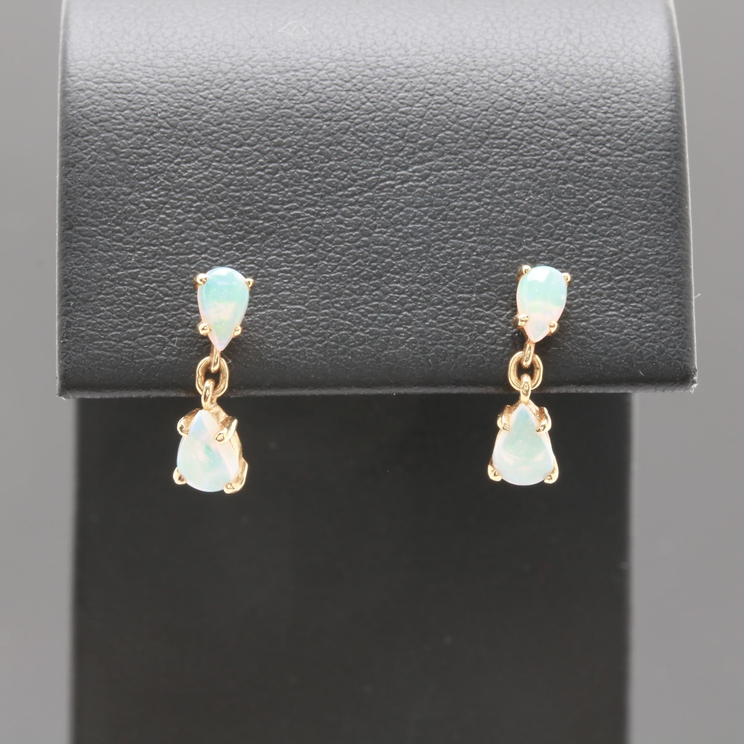 14K Yellow Gold Opal Earrings