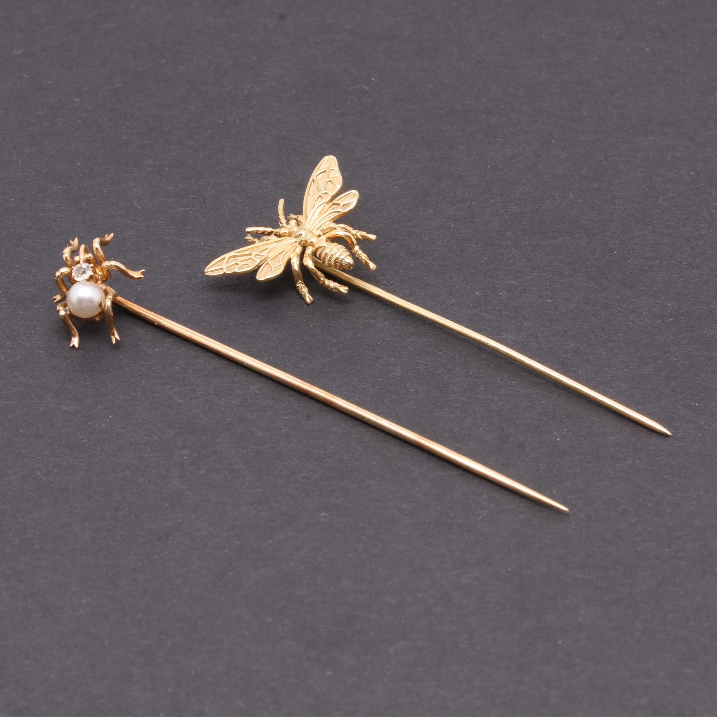 14K Yellow Gold Spider and Bee Stick Pins with Diamond and Imitation Pearl